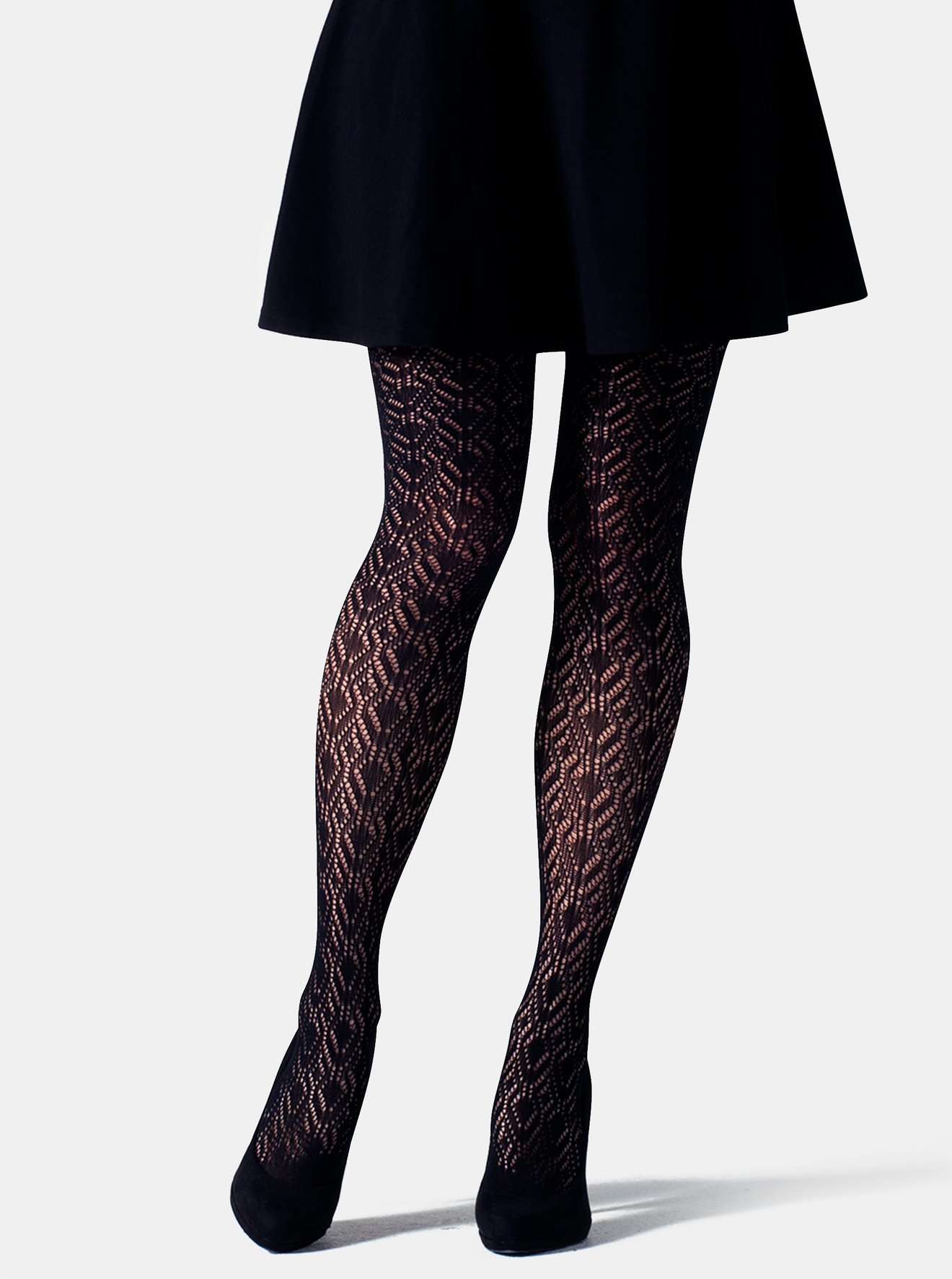 Černé vzorované punčochové kalhoty Gipsy