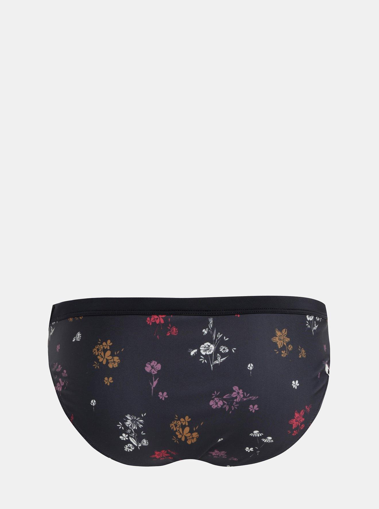Černý květovaný spodní díl plavek Maloja Clara