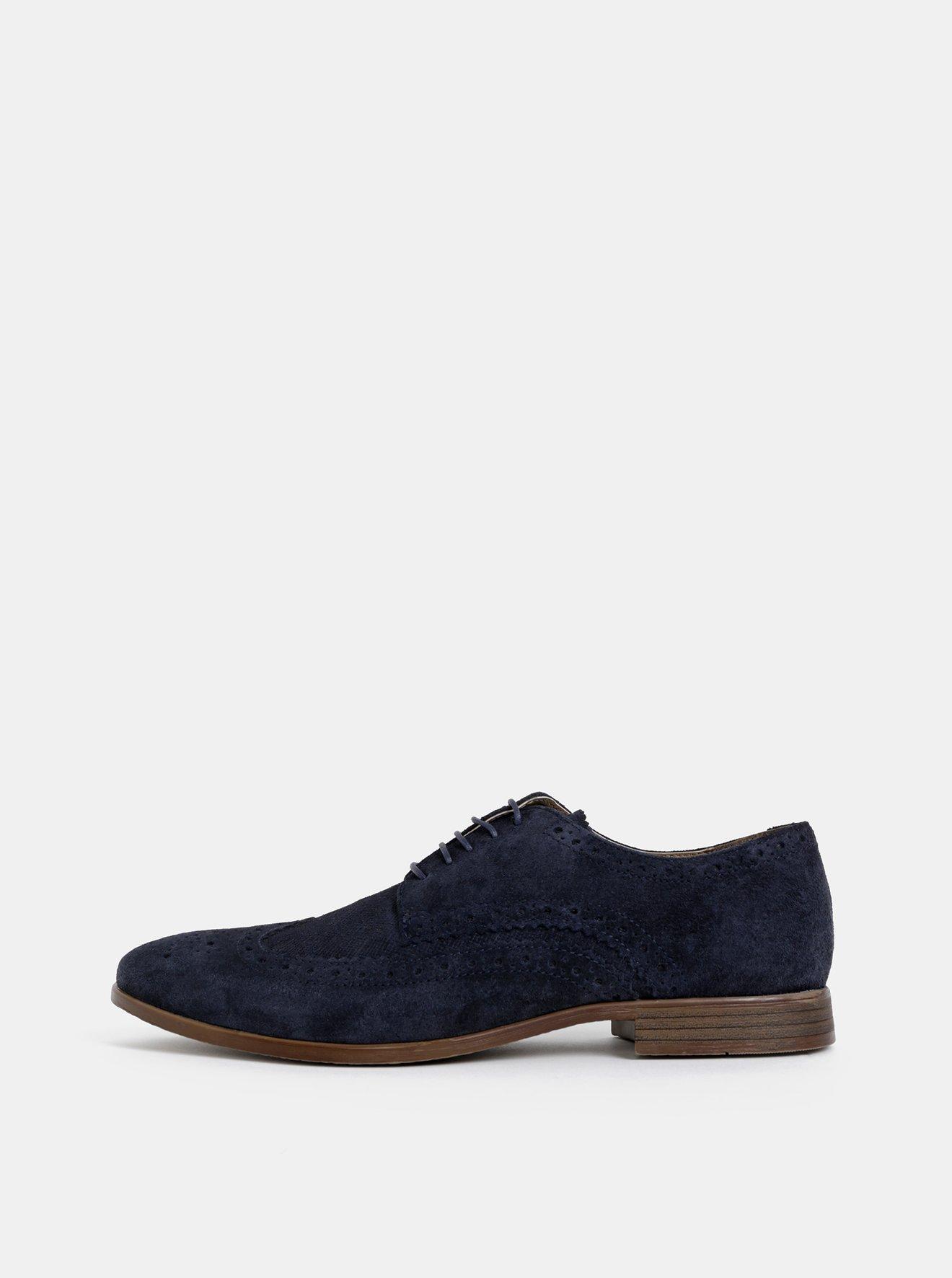 Tmavě modré pánské semišové polobotky Burton Menswear London