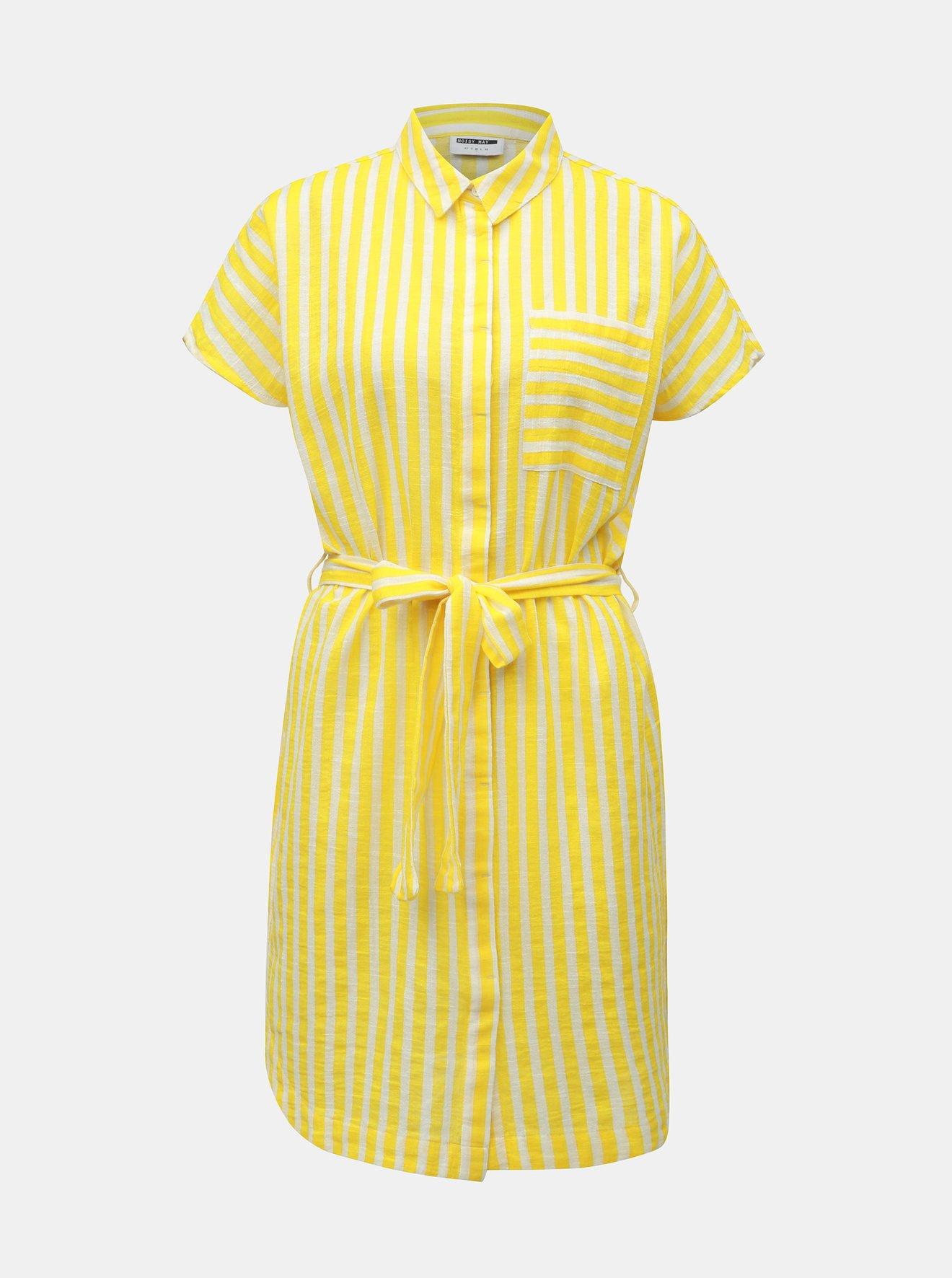 Bílo-žluté pruhované košilové šaty s kapsou Noisy May Mai
