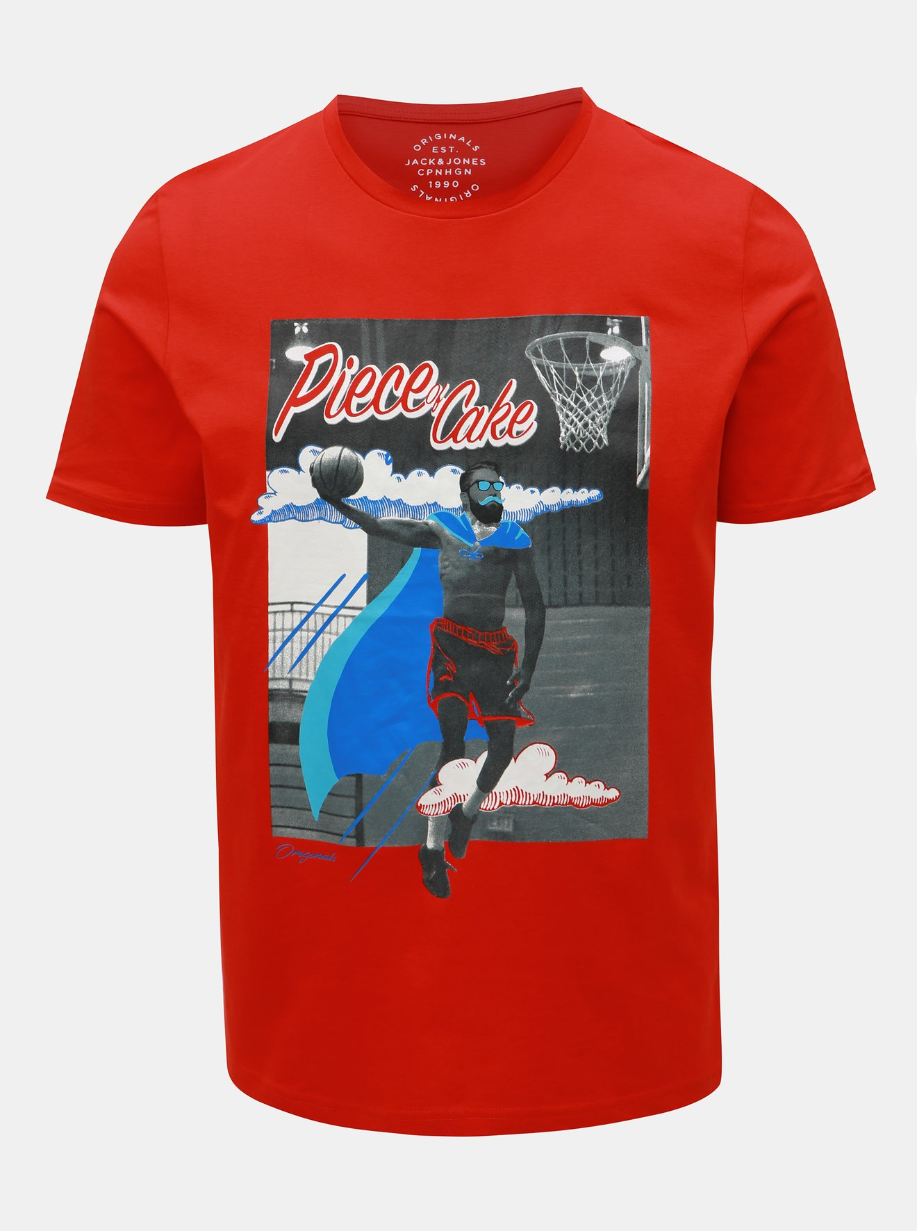 d74b3b017617 Červené slim fit tričko Jack   Jones Art