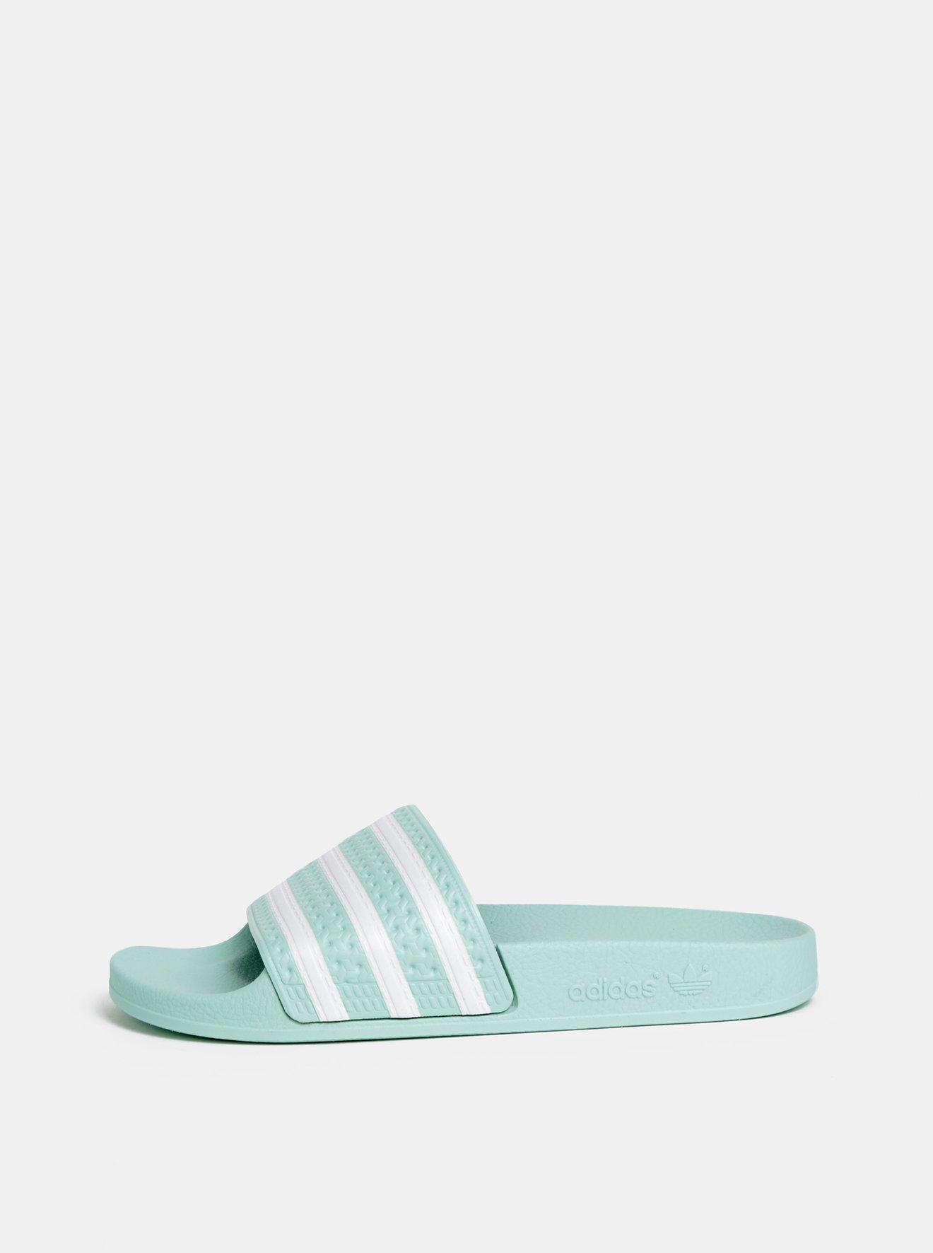 Mentolové dámské pruhované pantofle adidas Originals Adilette