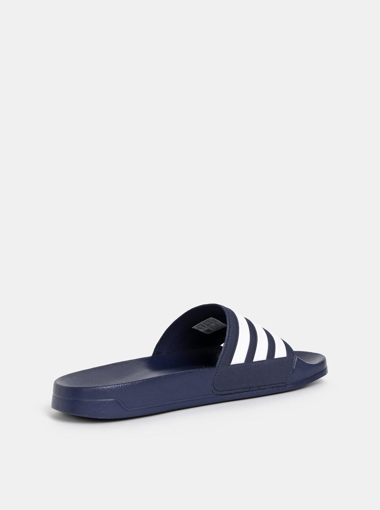 Tmavě modré pánské pruhované pantofle adidas CORE Adilette Shower