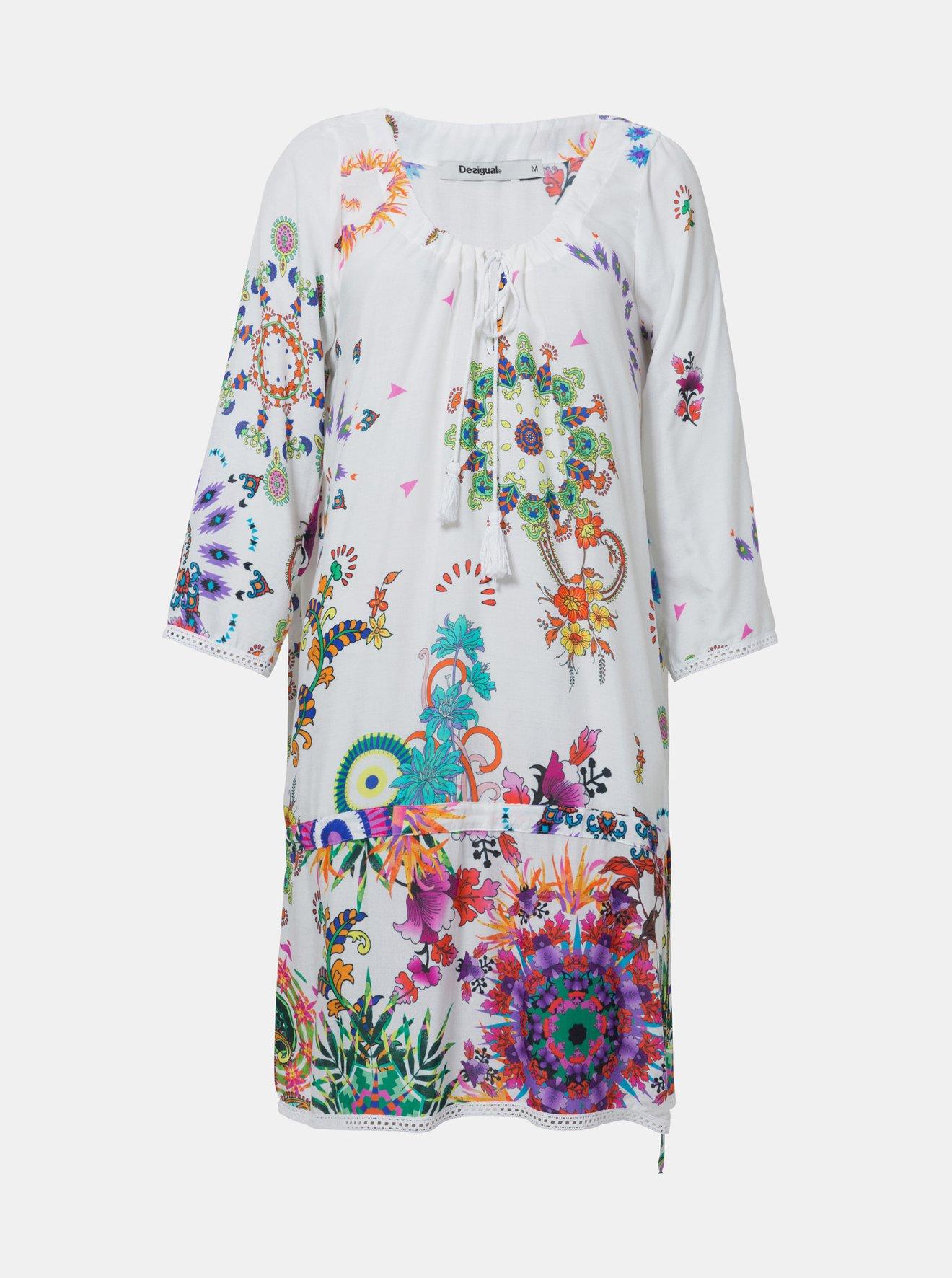 c7fa6cf6f0ba Bílé vzorované šaty Desigual Melina