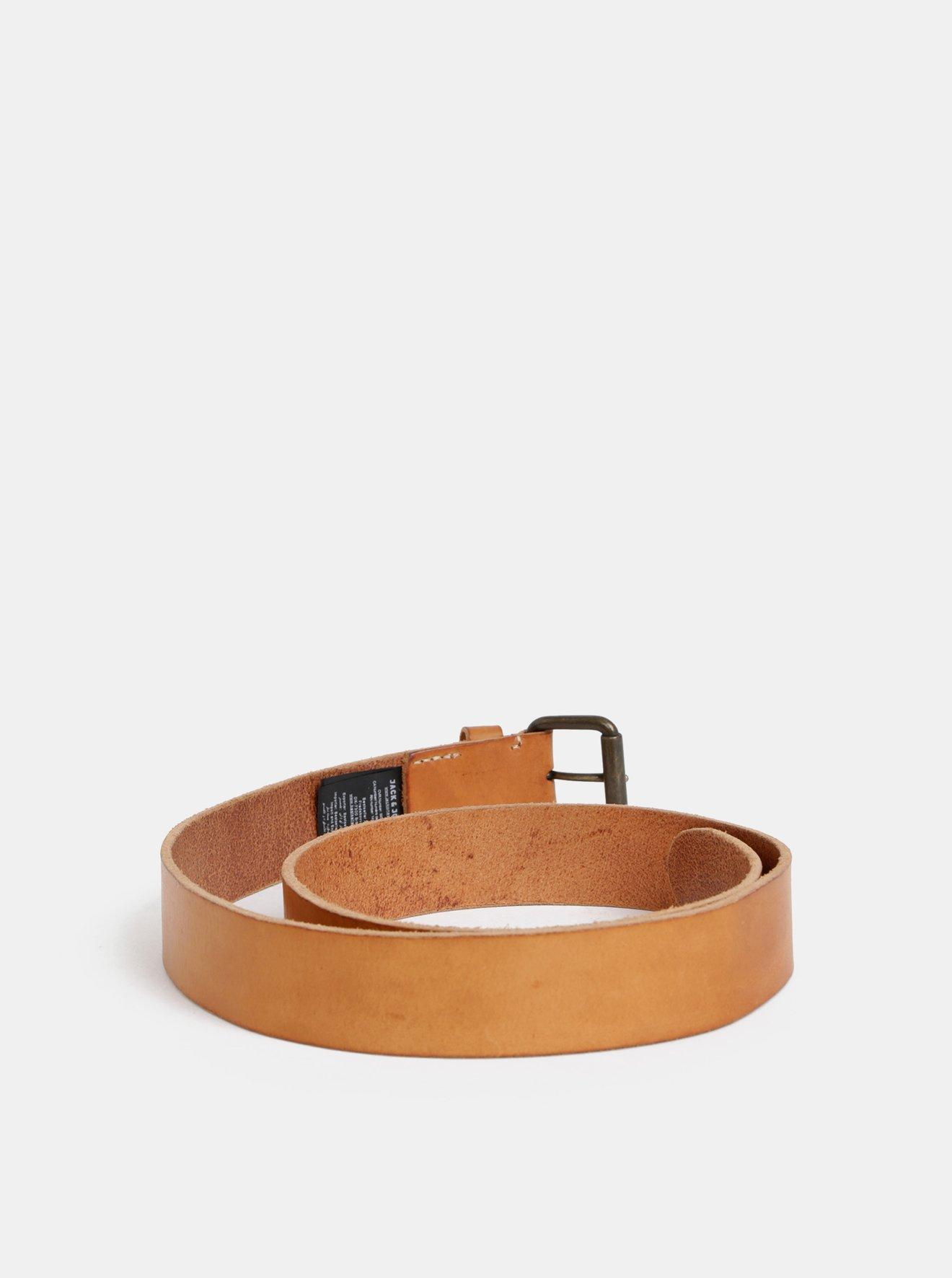 Světle hnědý kožený pásek Jack & Jones Jakob