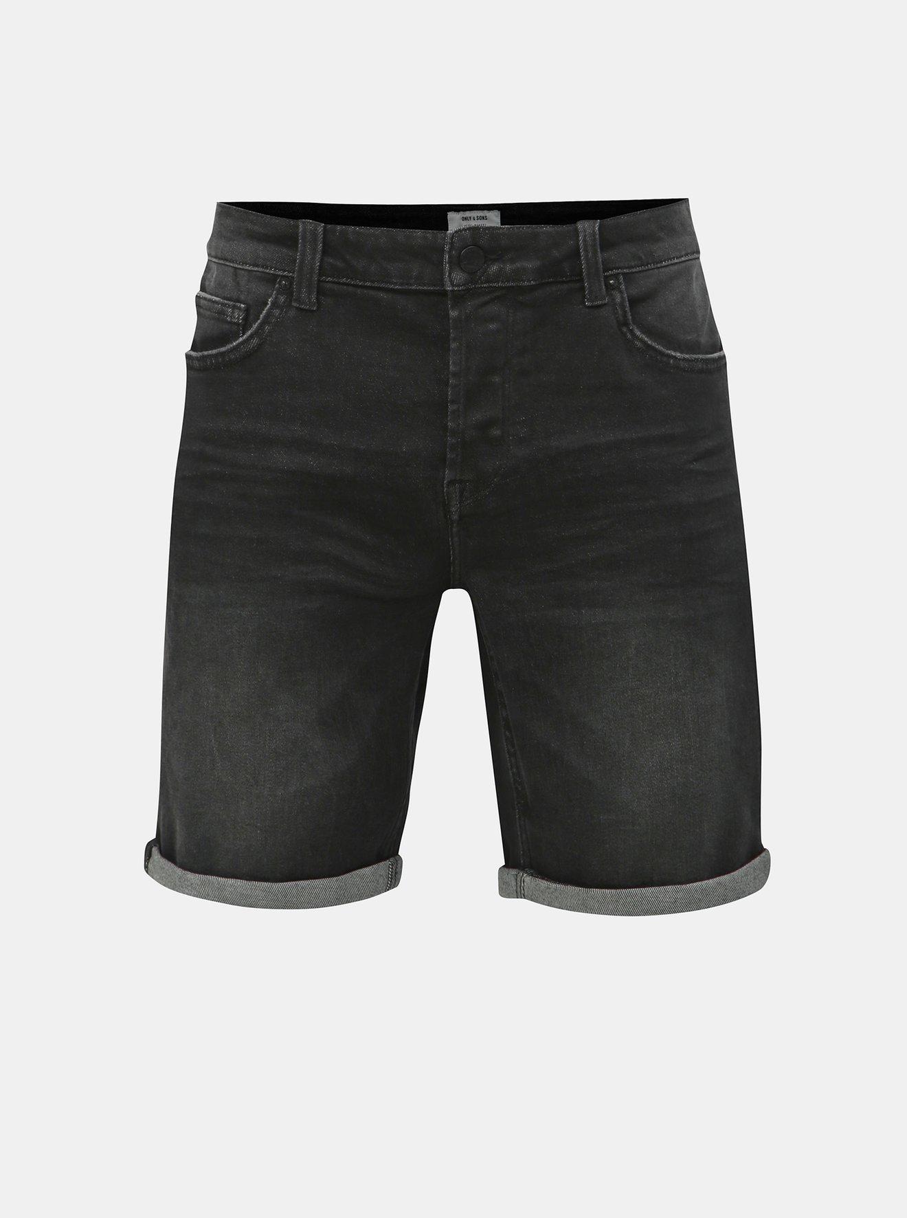 Černé džínové kraťasy ONLY & SONS Ply