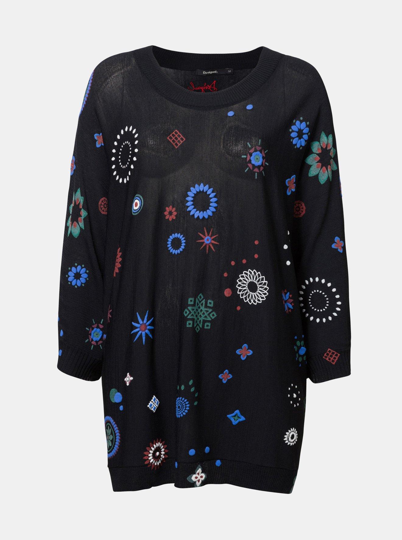 Černý volný svetr s potiskem Desigual Berna