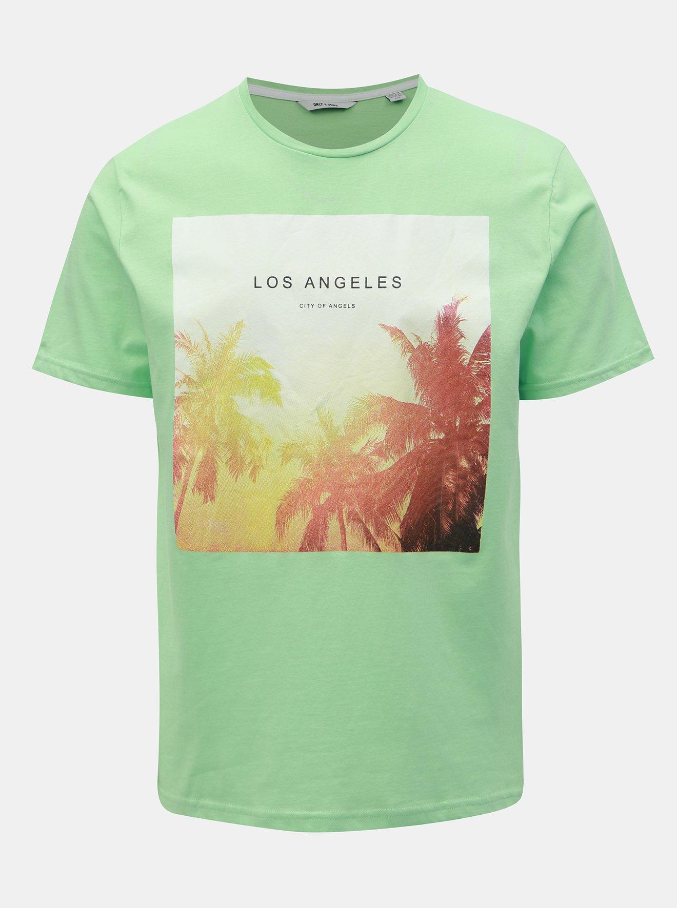 Světle zelený tričko s potiskem ONLY & SONS Lamani