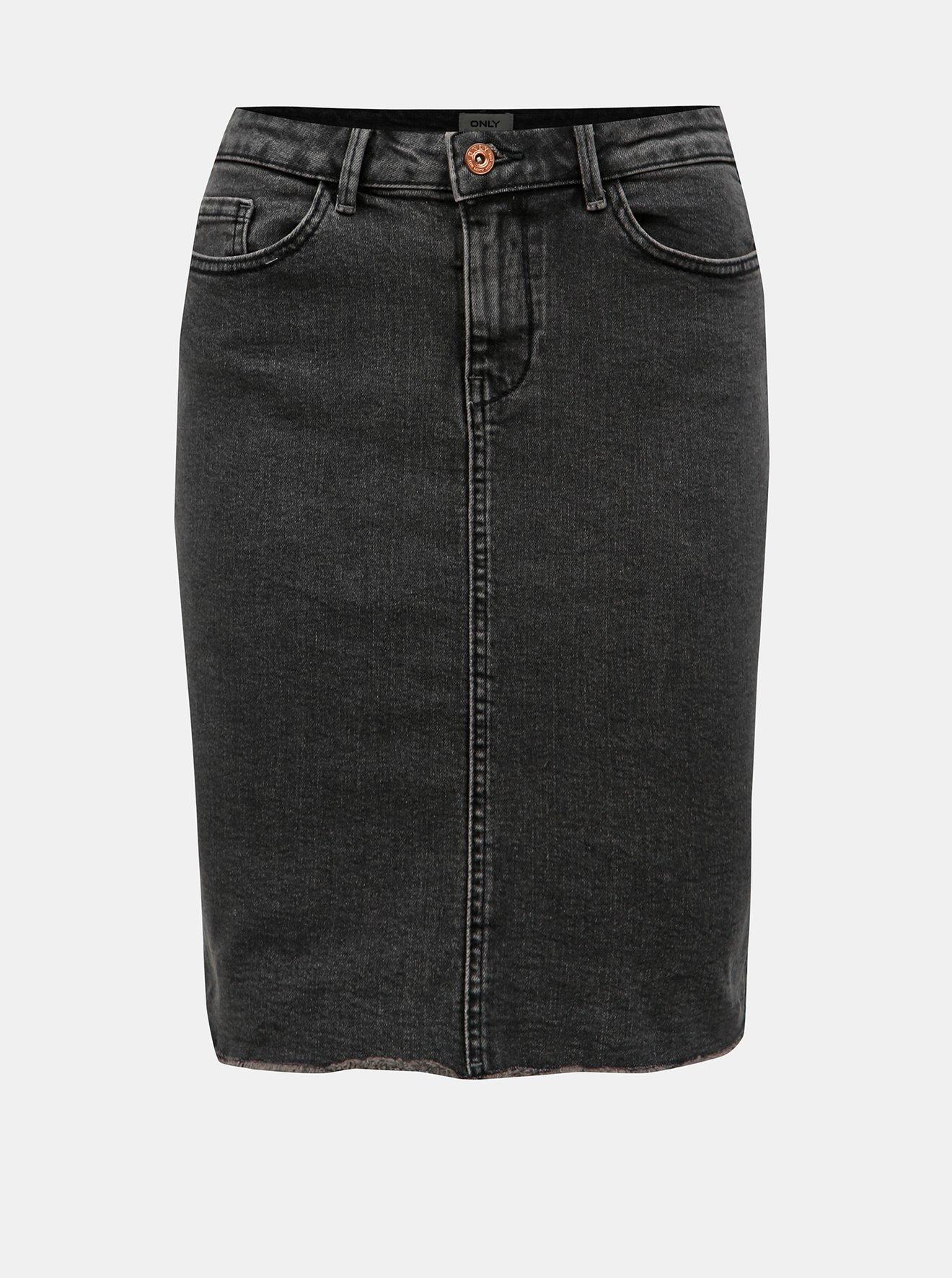 Tmavě šedá džínová sukně s roztřepeným lemem ONLY Eliza