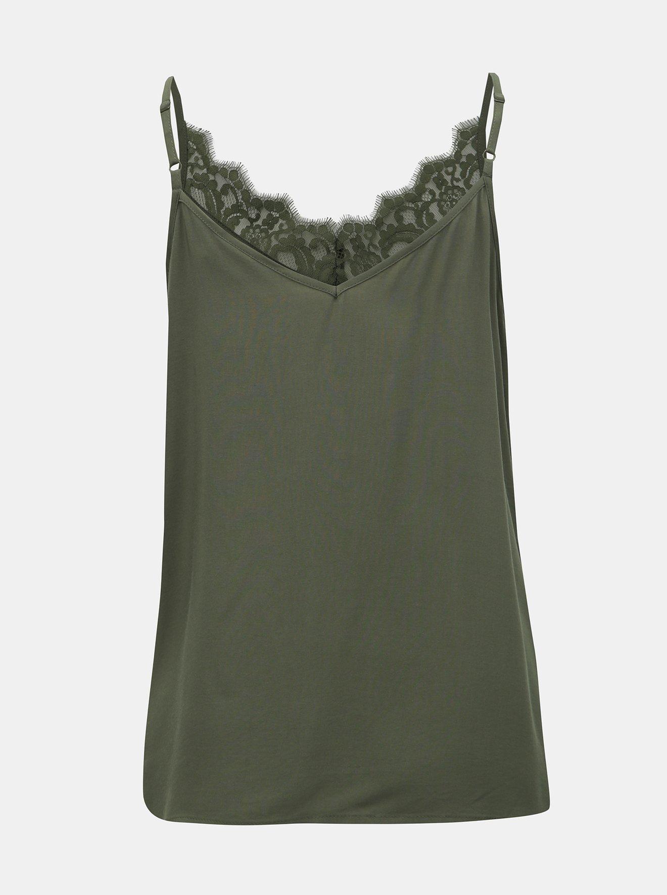 Zelený top s krajkou v dekoltu Jacqueline de Yong Fame