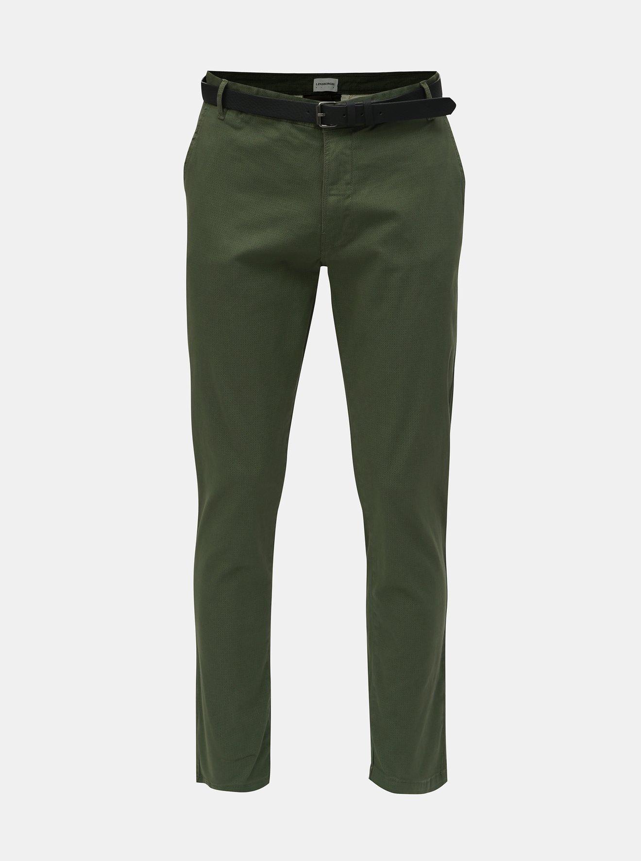 Zelené chino kalhoty s páskem Lindbergh