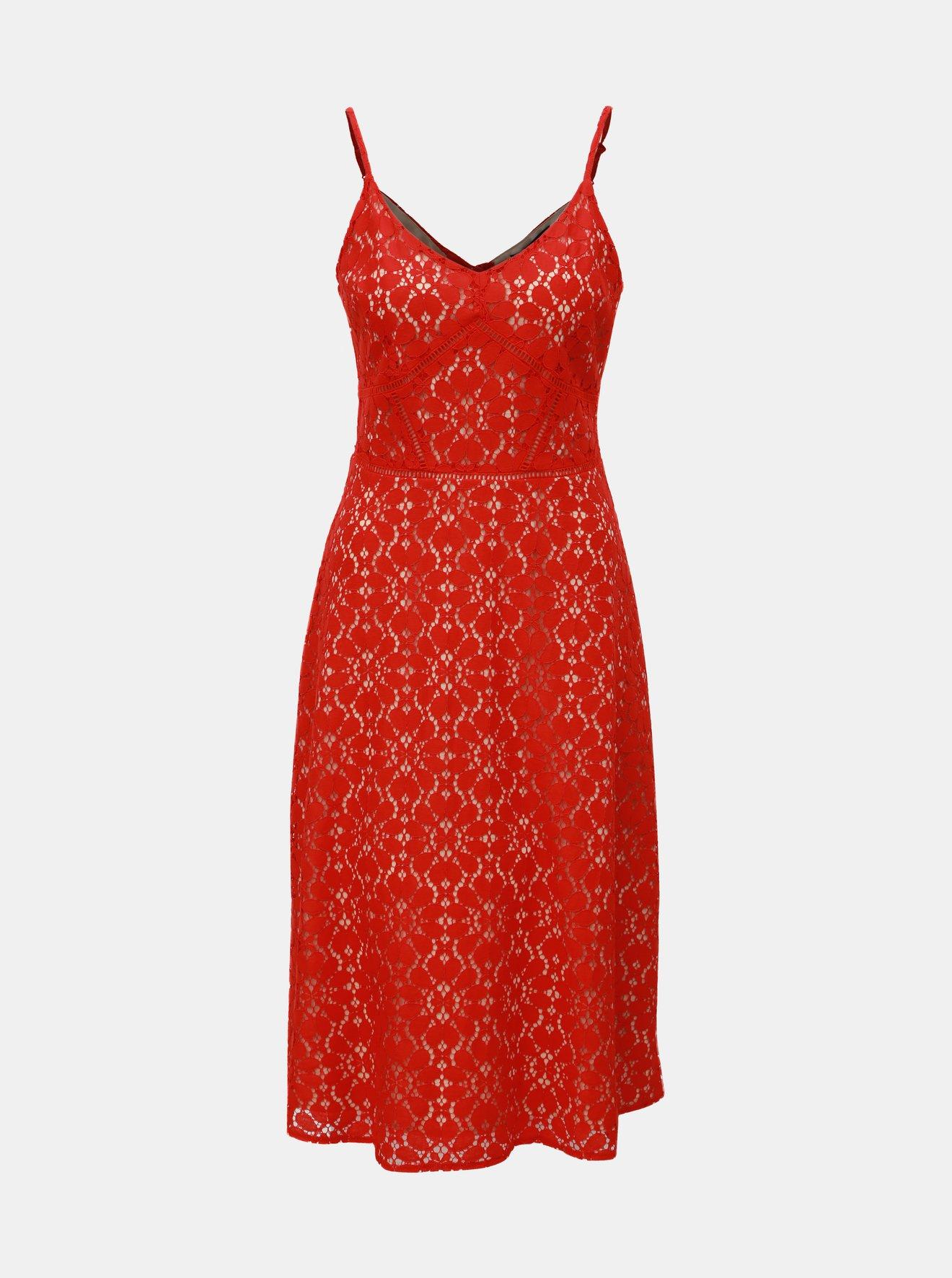 Červené krajkové šaty na ramínka Dorothy Perkins