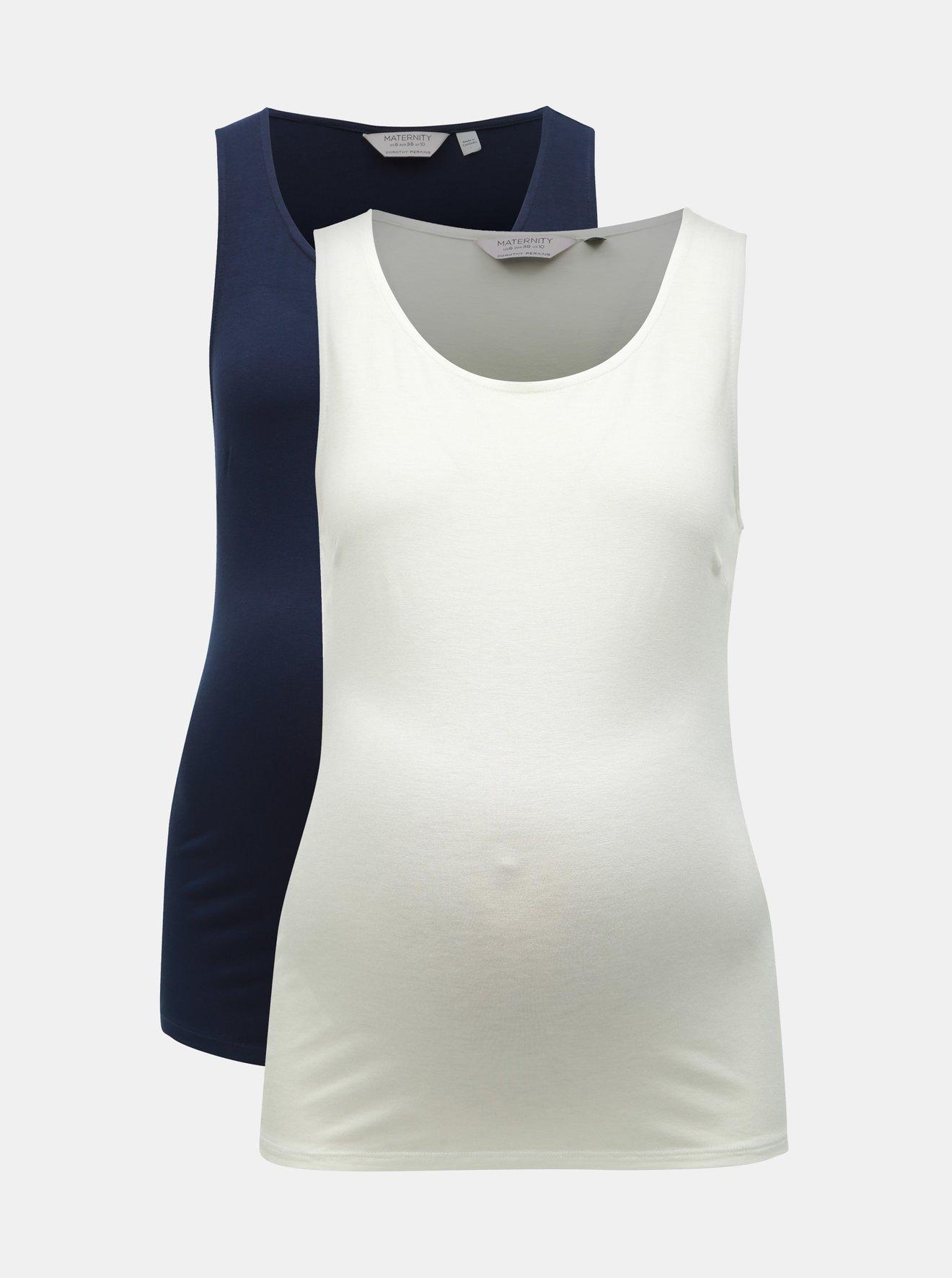 Sada dvou těhotenských basic tílek v bílé a modré barvě Dorothy Perkins Maternity