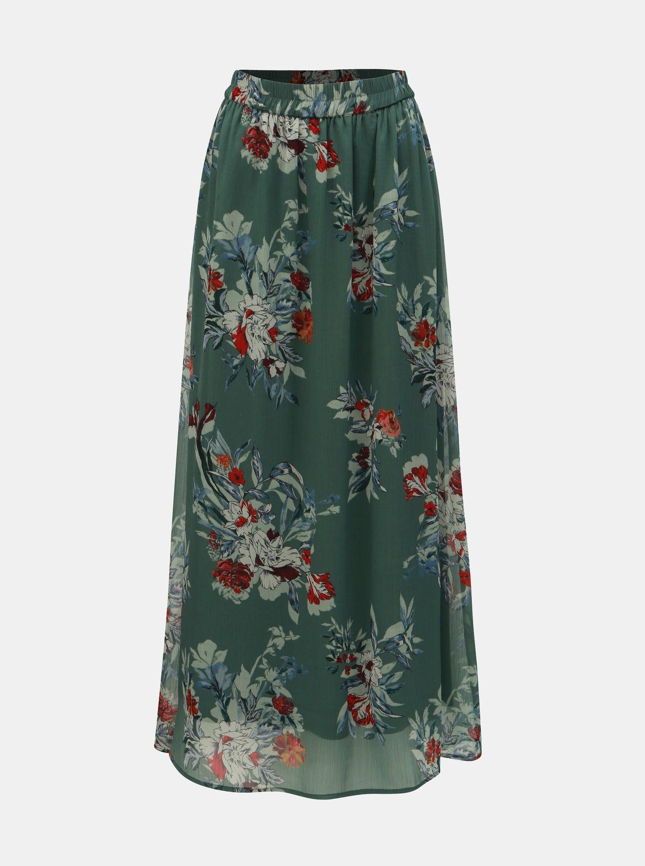 Zelená květovaná maxi sukně VERO MODA Wonda