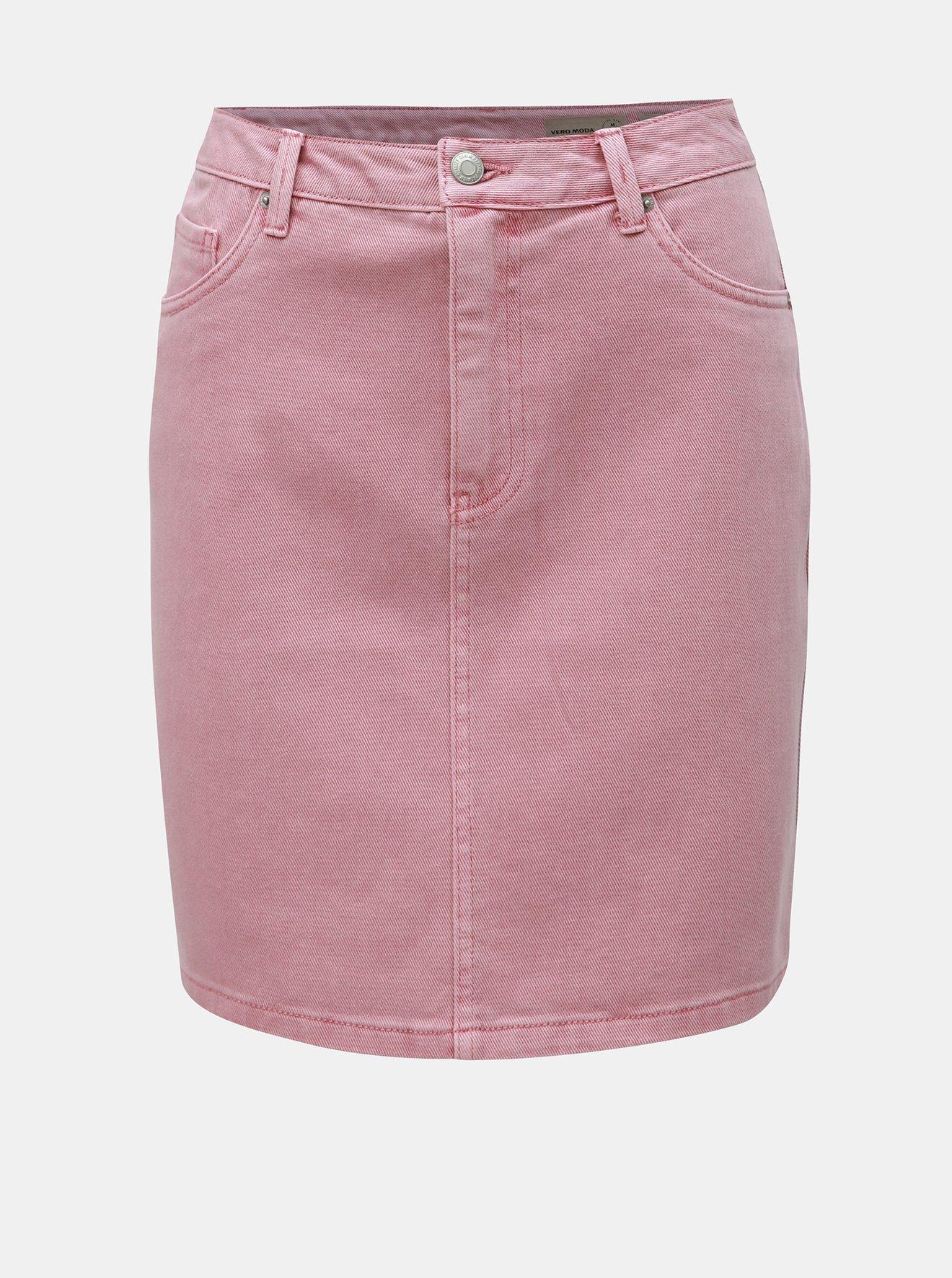 Růžová džínová sukně VERO MODA Kathy