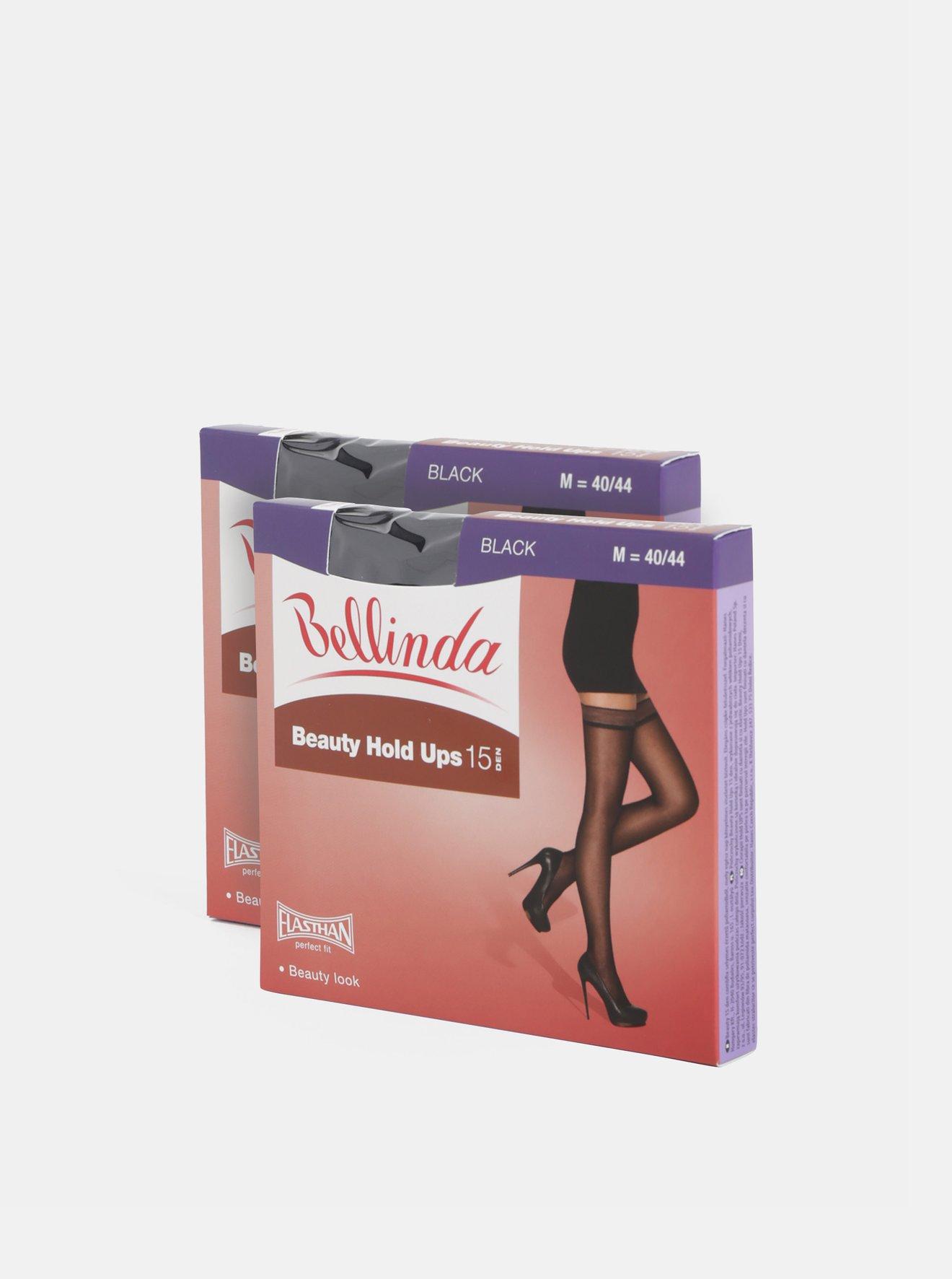 Sada dvou černých samodržících punčoch Bellinda Beauty Hold Ups 15 DEN