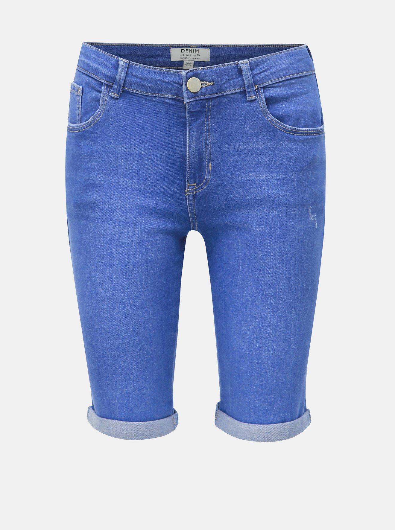 Modré džínové regular fit kraťasy Dorothy Perkins