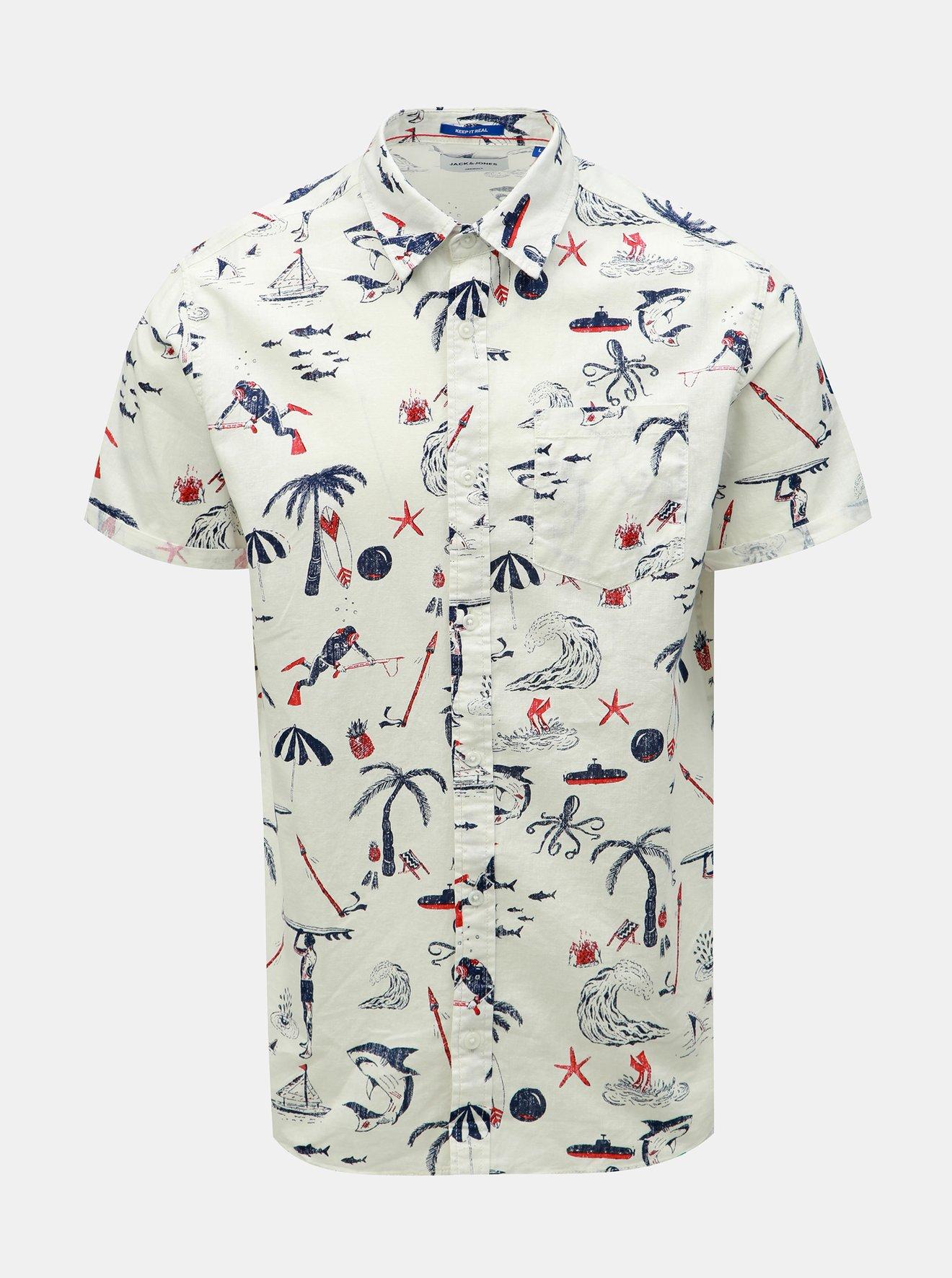 Bílá vzorovaná košile s příměsí lnu Jack & Jones Ryan