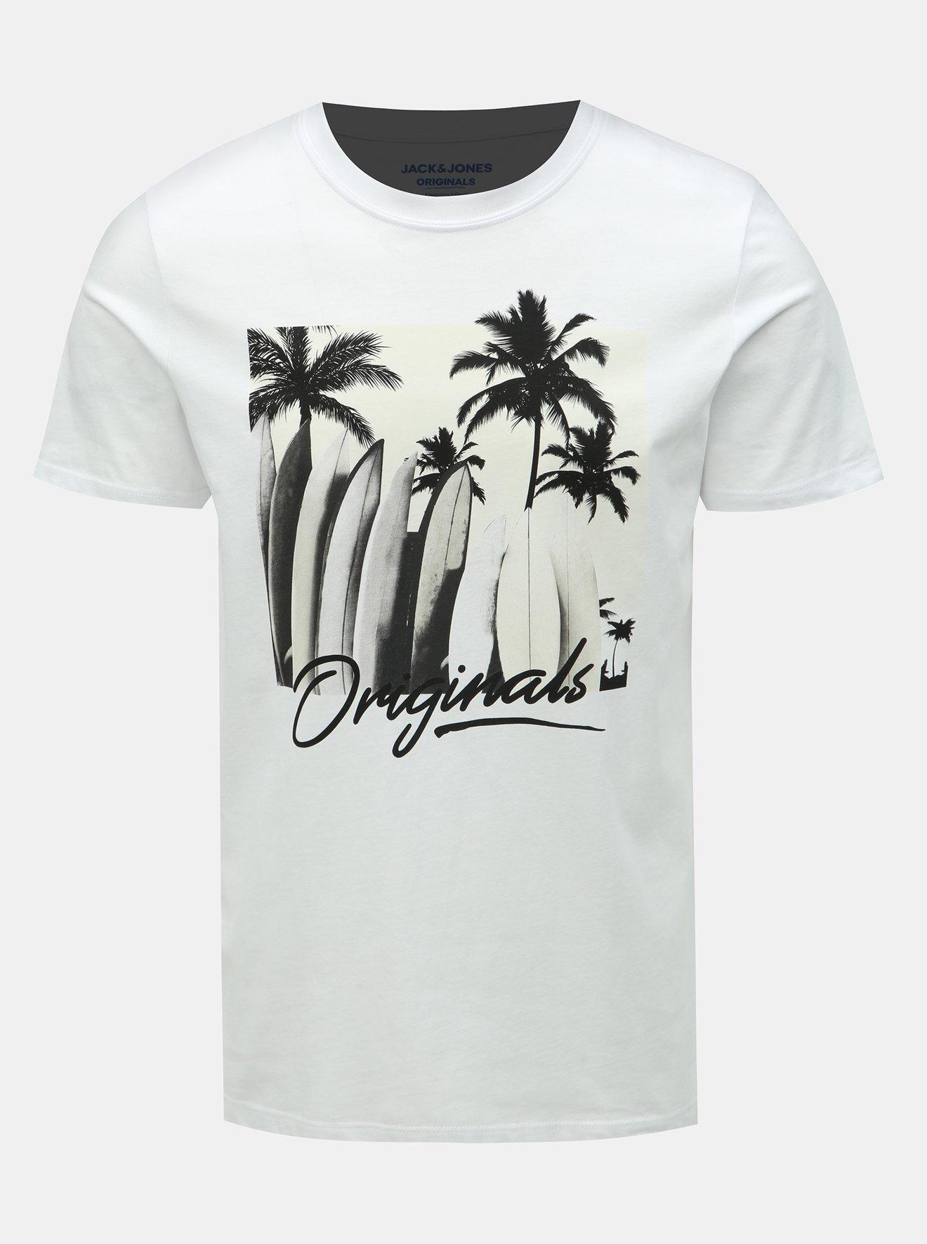 Bílé tričko s potiskem Jack & Jones Heated