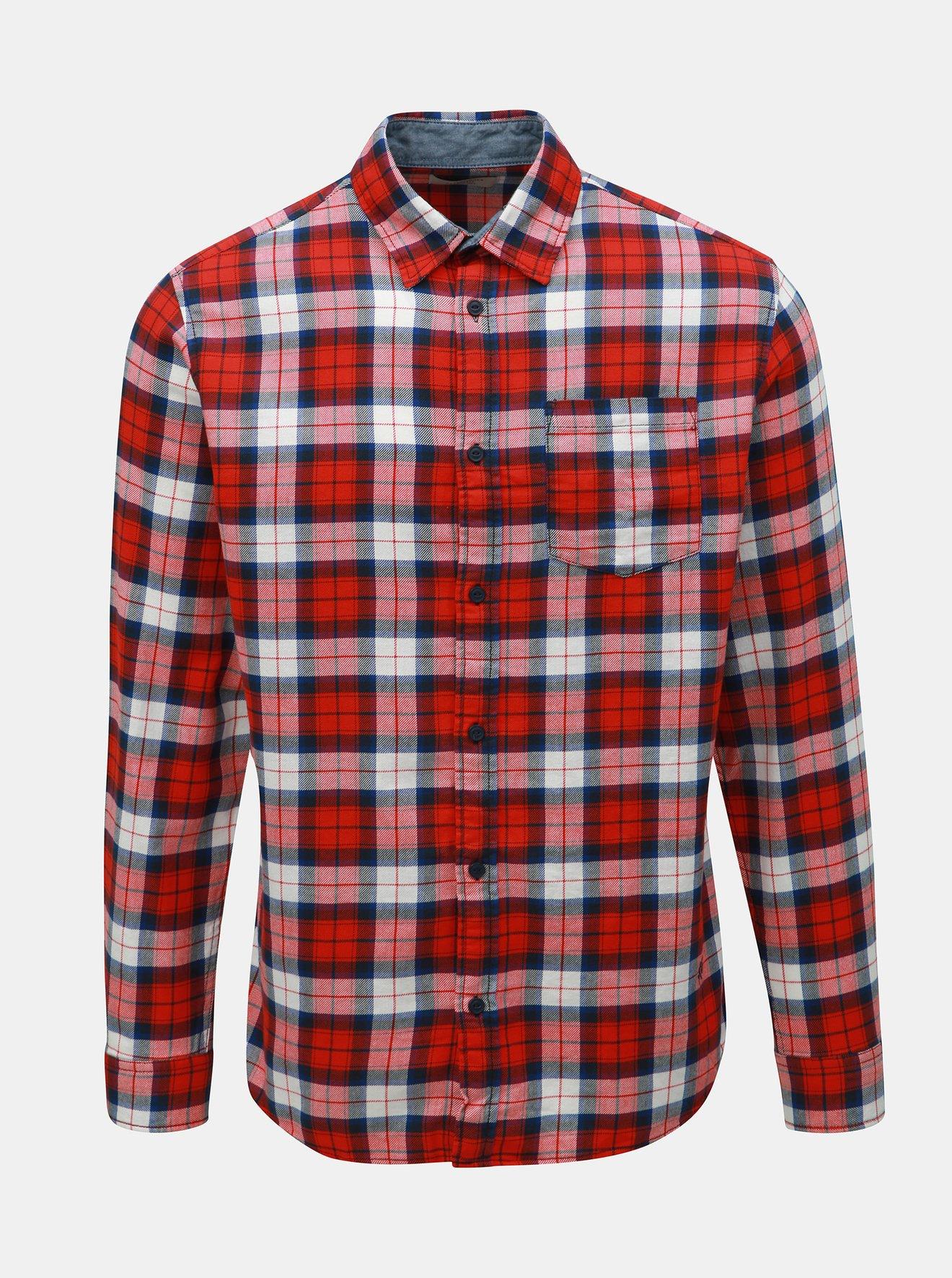 Červená kostkovaná slim fit košile Jack & Jones Nico