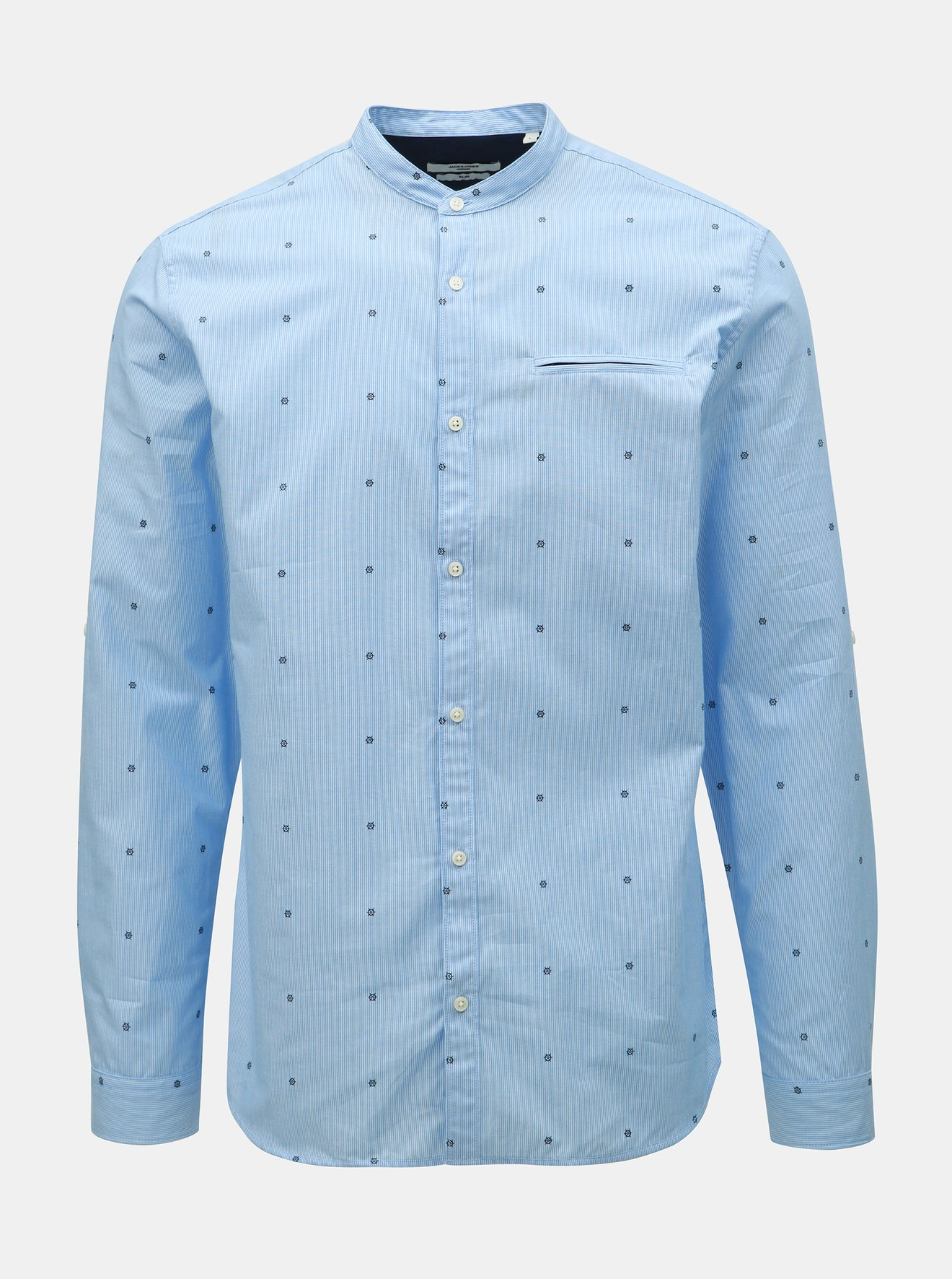 Modrá vzorovaná slim fit košile Jack & Jones Sailor