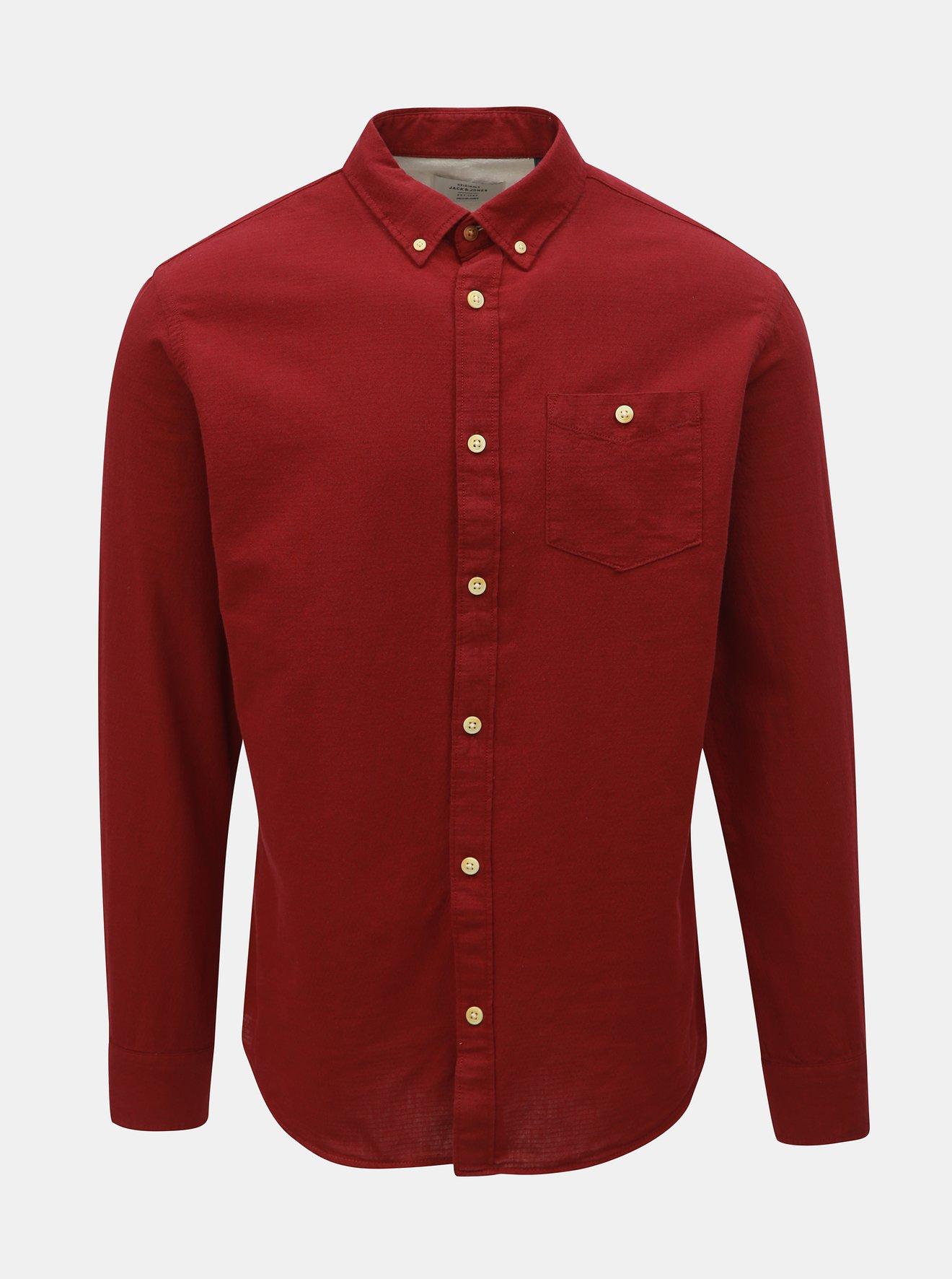 Vínová slim fit košile Jack & Jones Portland
