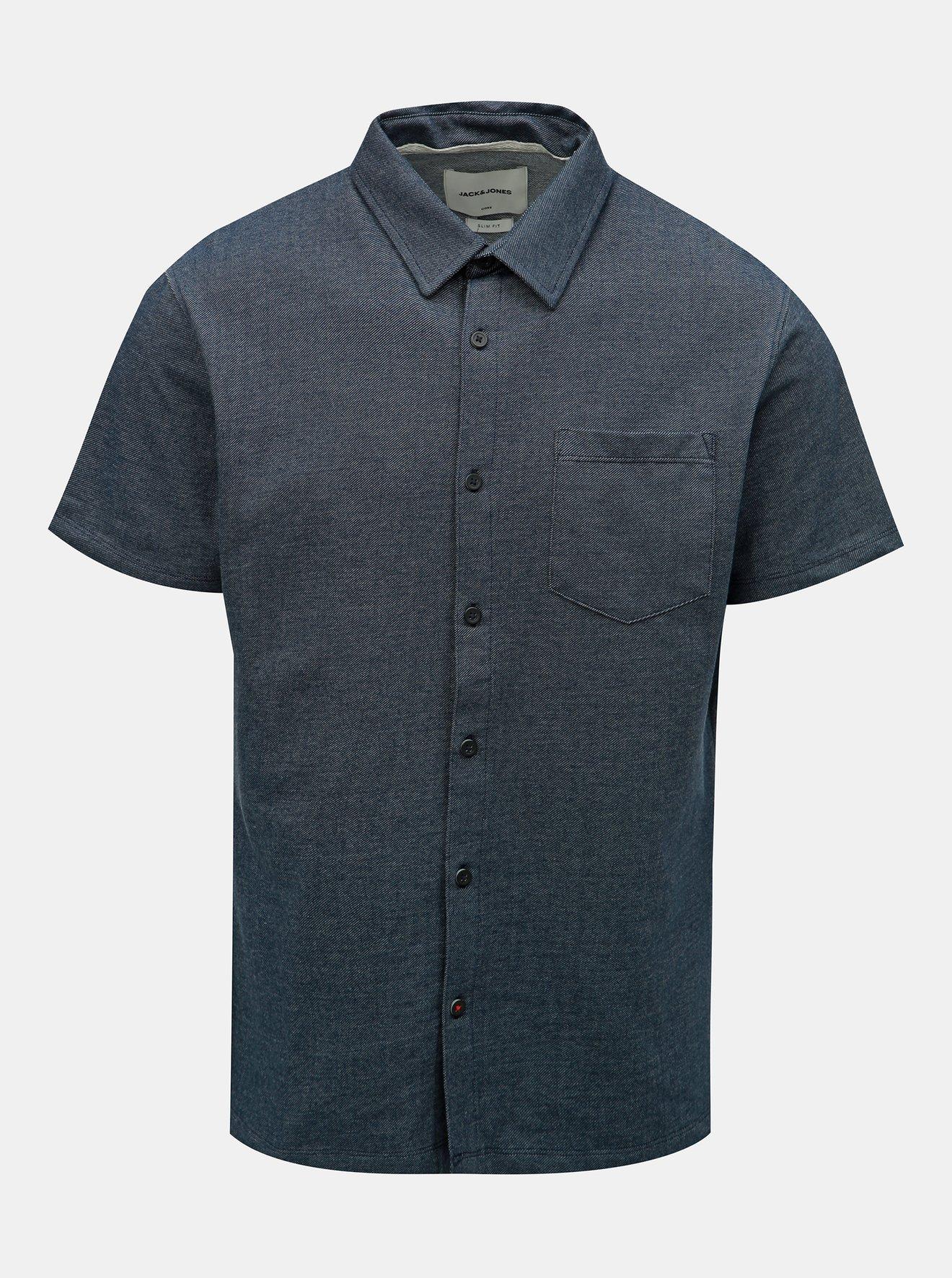 Tmavě modrá žíhaná slim fit košile Jack & Jones Owen