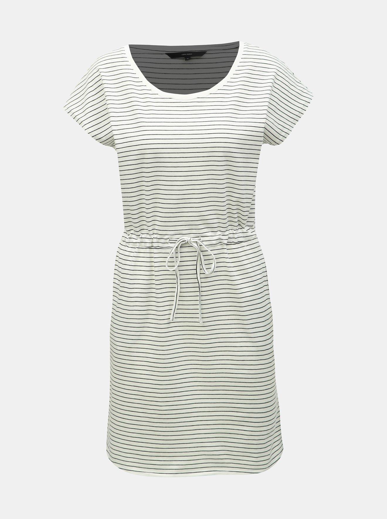 Krémové pruhované šaty s kapsami VERO MODA April