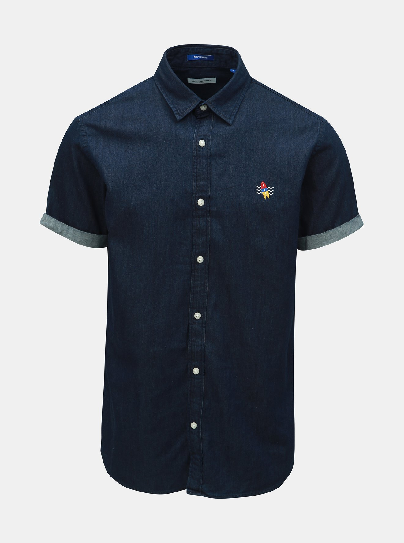 Tmavě modrá džínová košile s výšivkou Jack & Jones Surf