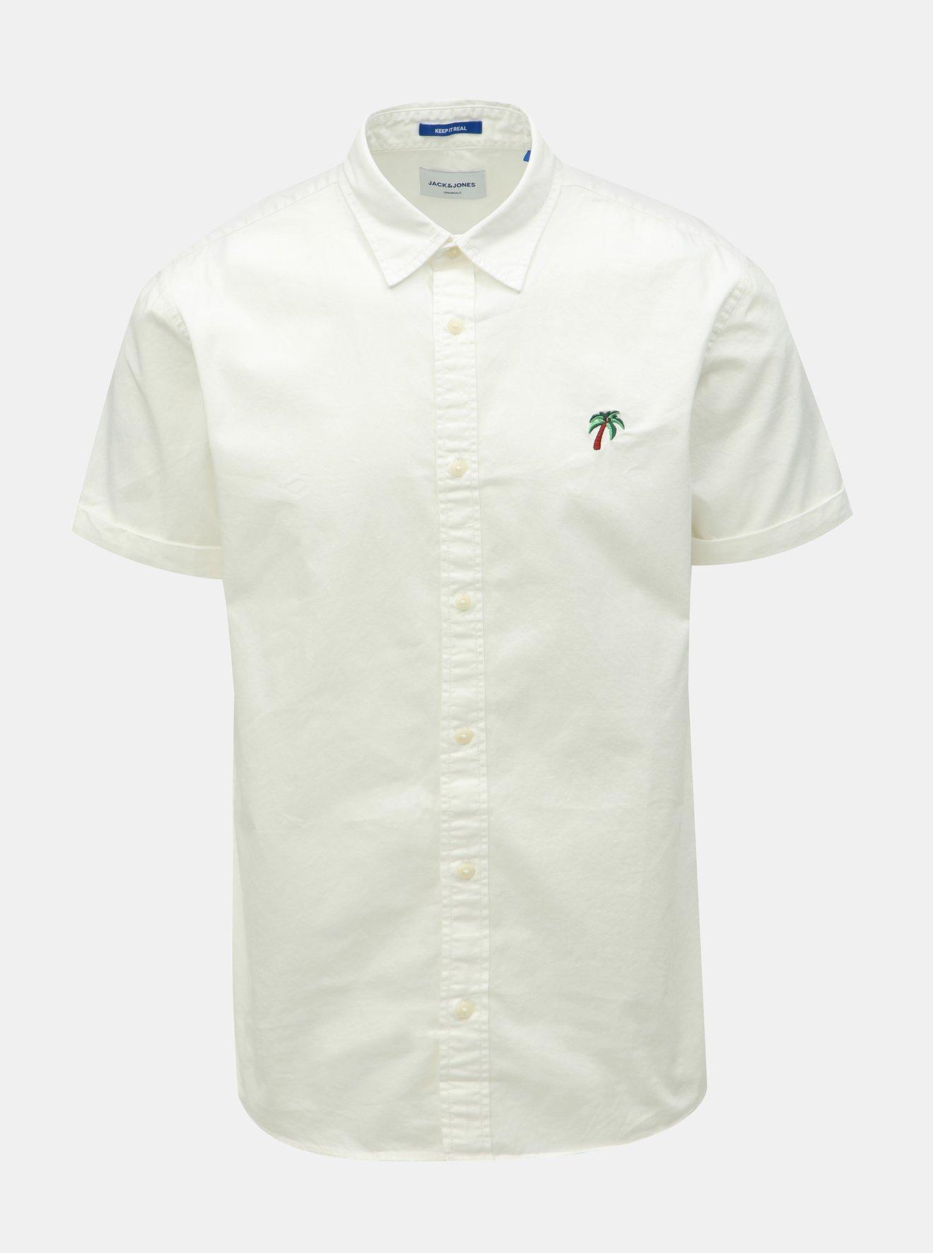 Bílá košile s výšivkou Jack & Jones Surf