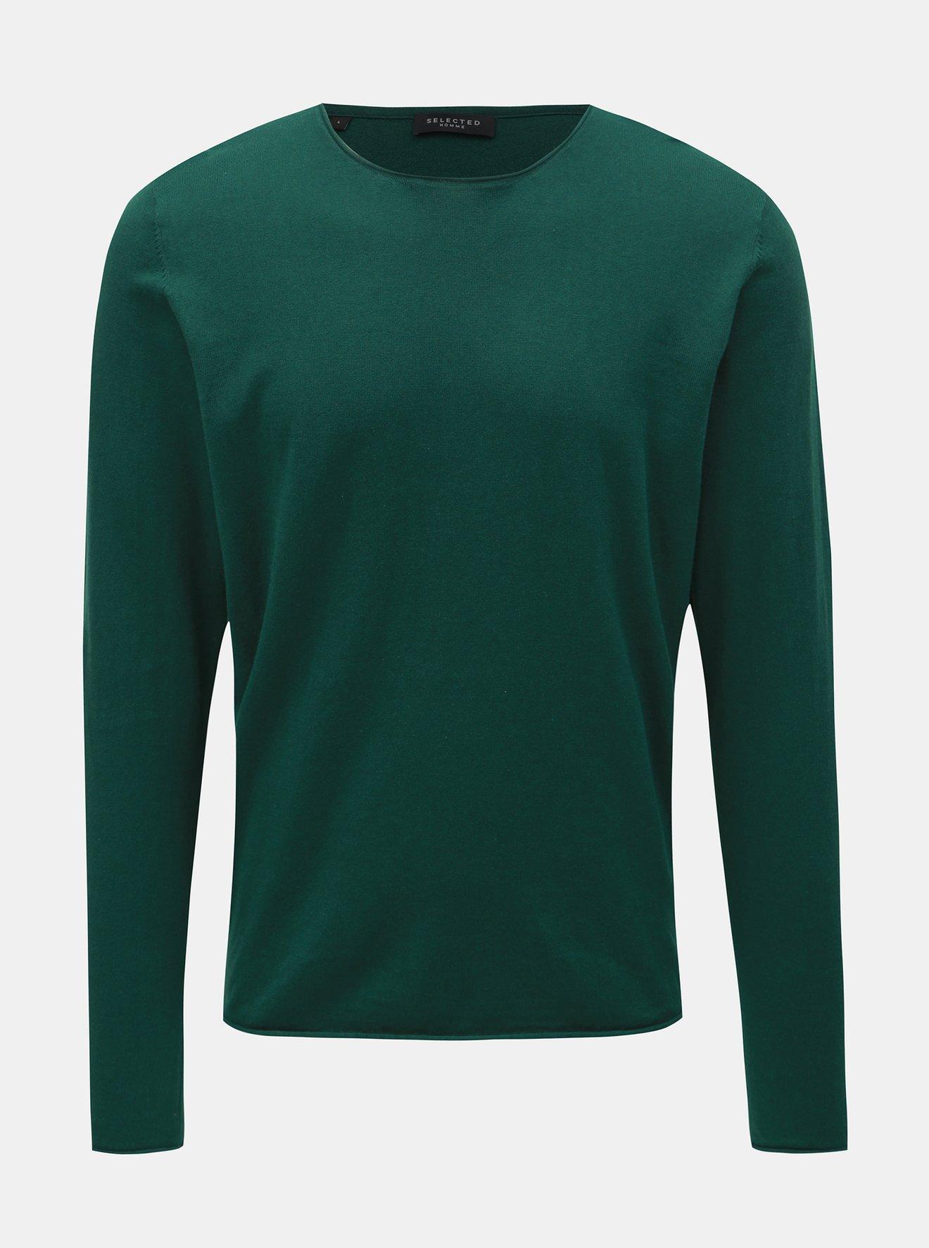 Zelený svetr s příměsí hedvábí Selected Homme Dome