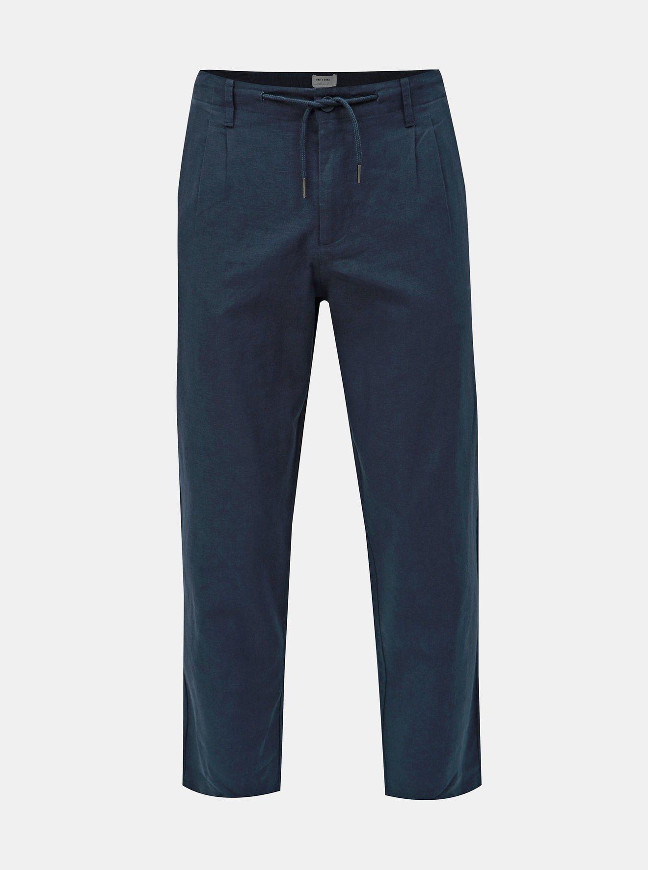 Tmavě modré lněné kalhoty ONLY & SONS Leo