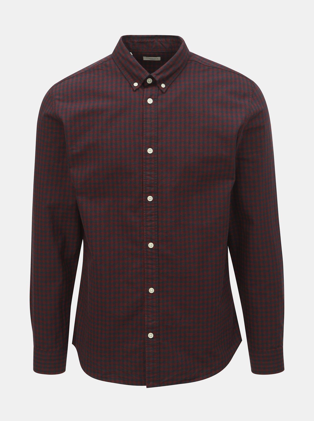 Vínová kostkovaná košile Selected Homme One Ginngham