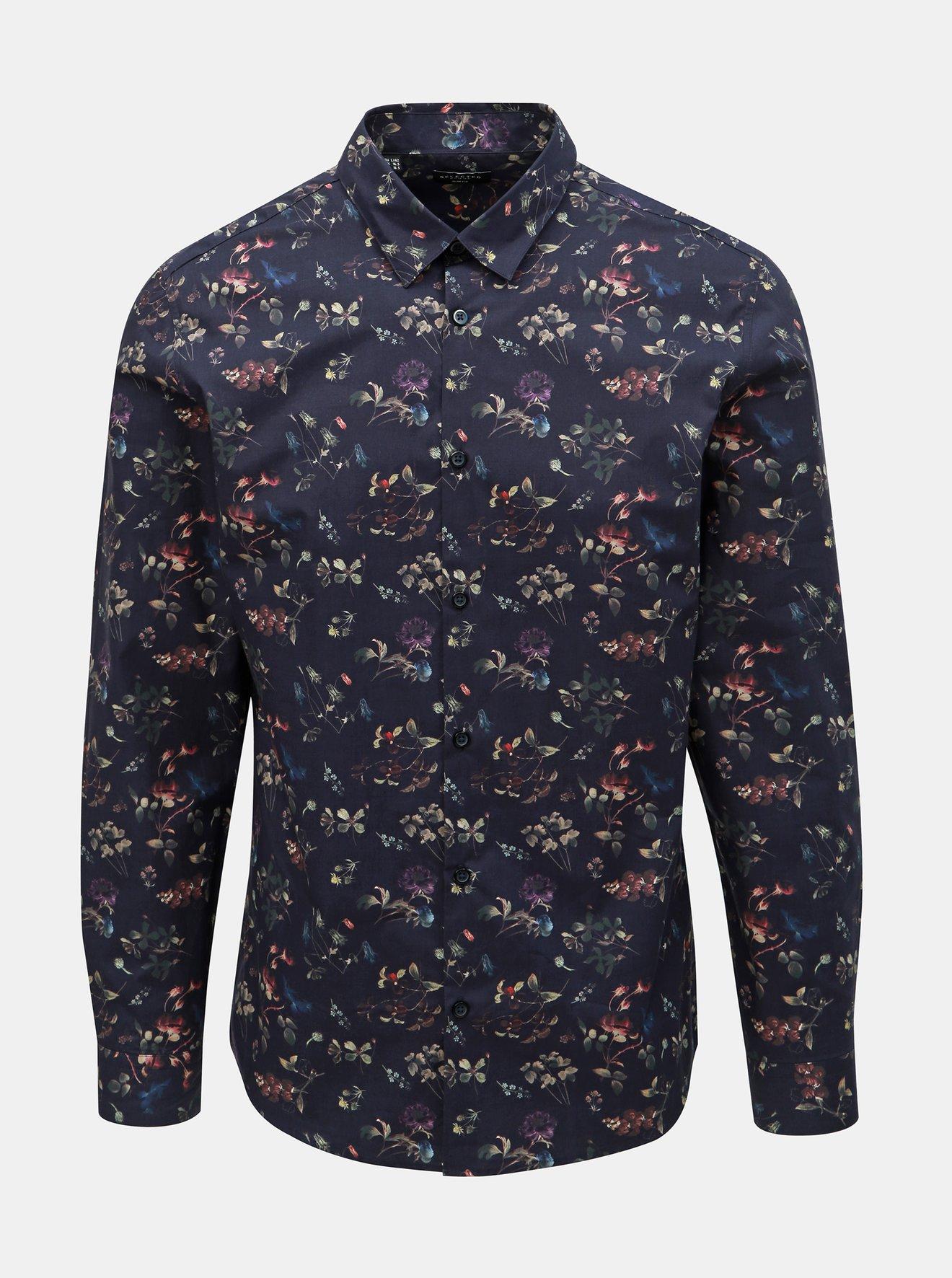Tmavě modrá květovaná slim fit košile Selected Homme Primus