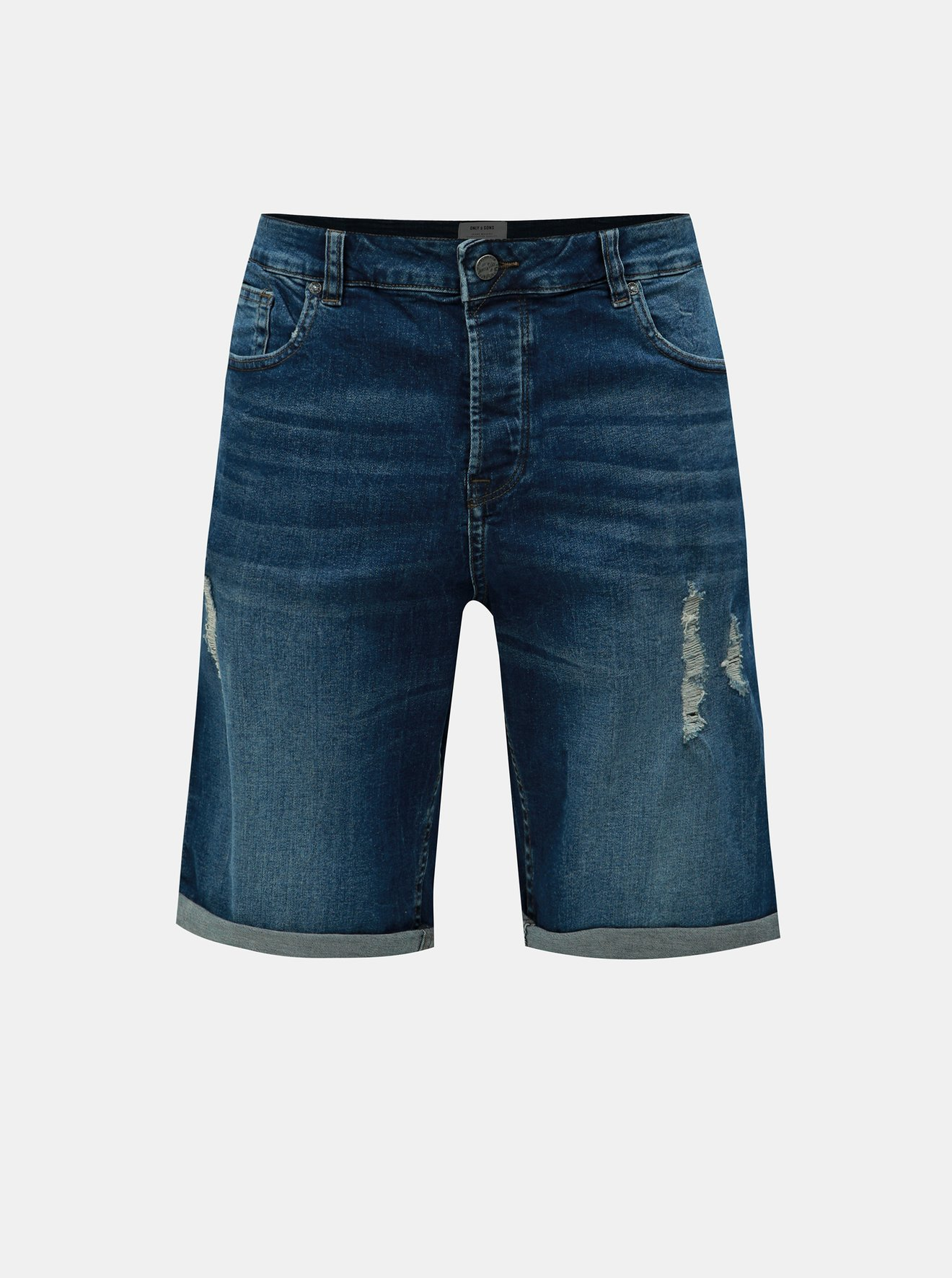 Tmavě modré džínové kraťasy ONLY & SONS Avi