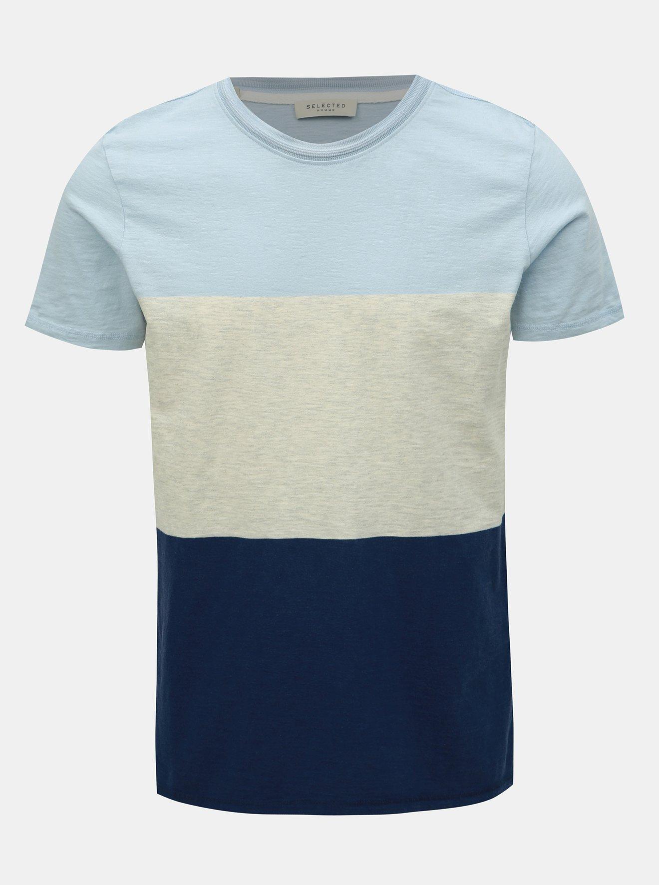 Krémovo-modré tričko Selected Homme Kiyoshi