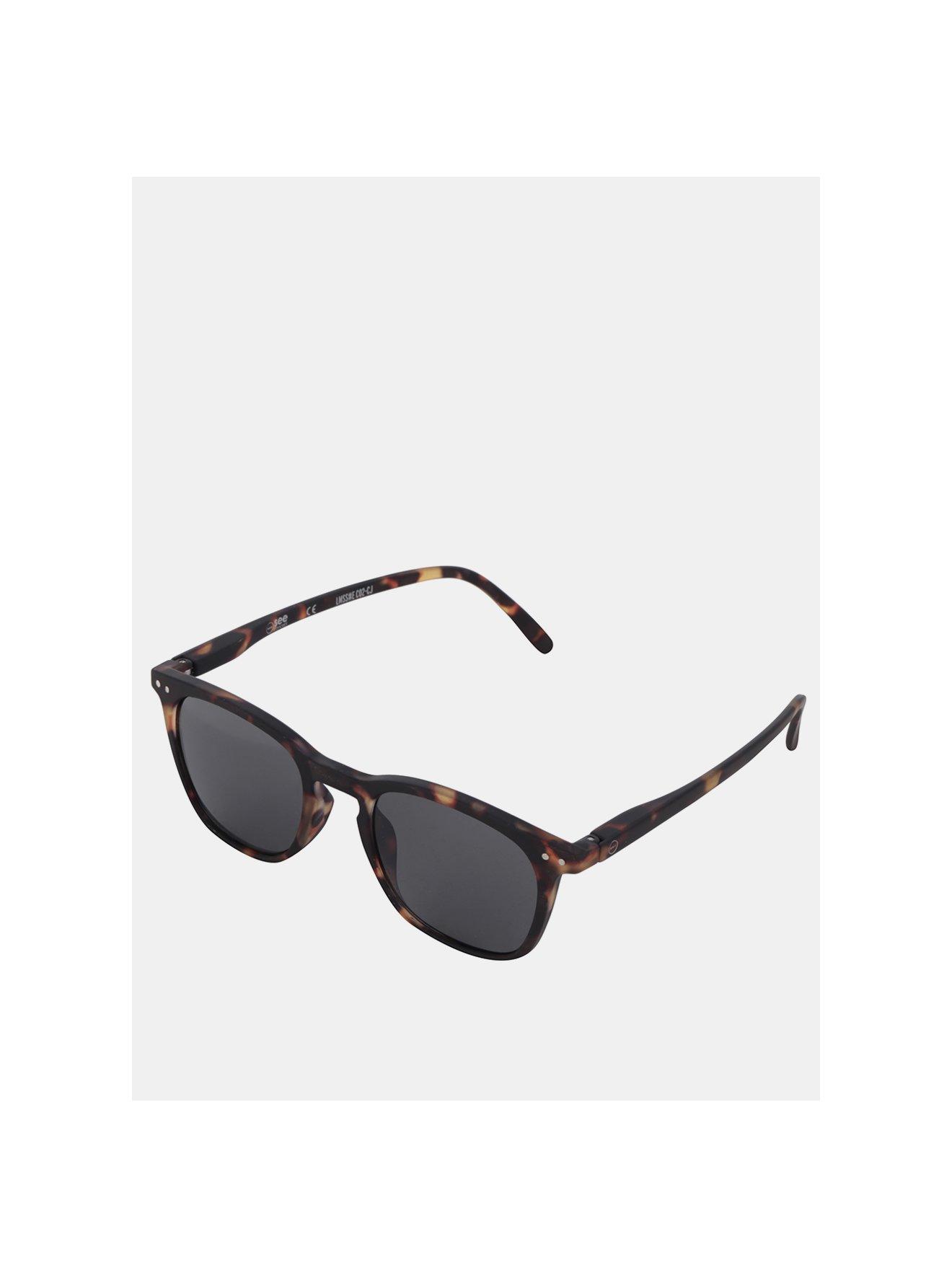 Hnědo-černé vzorované sluneční brýle s černými skly IZIPIZI  #E