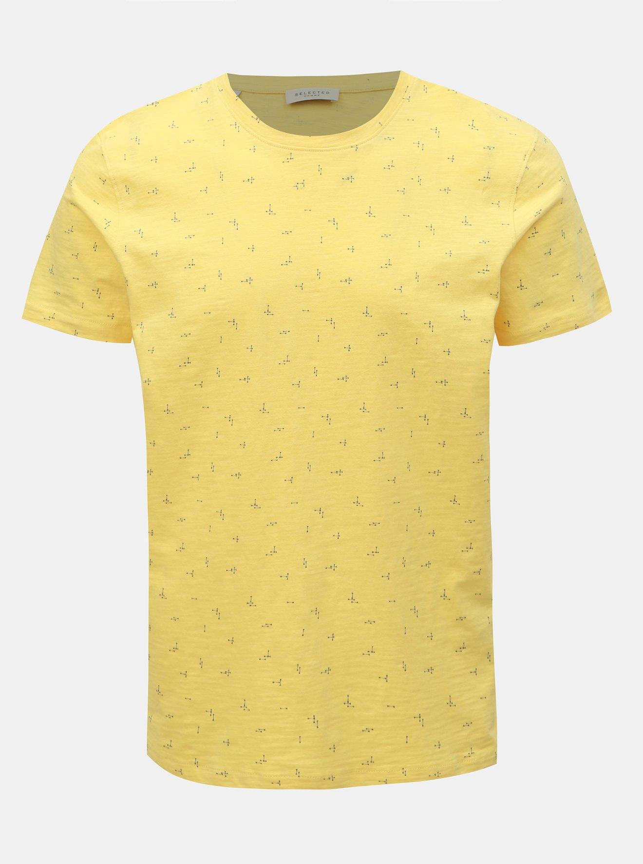 Žluté vzorované tričko Selected Homme Oliver