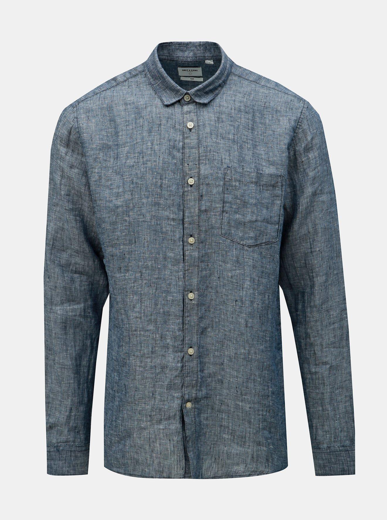 Modrá lněná žíhaná slim fit košile ONLY & SONS Luke