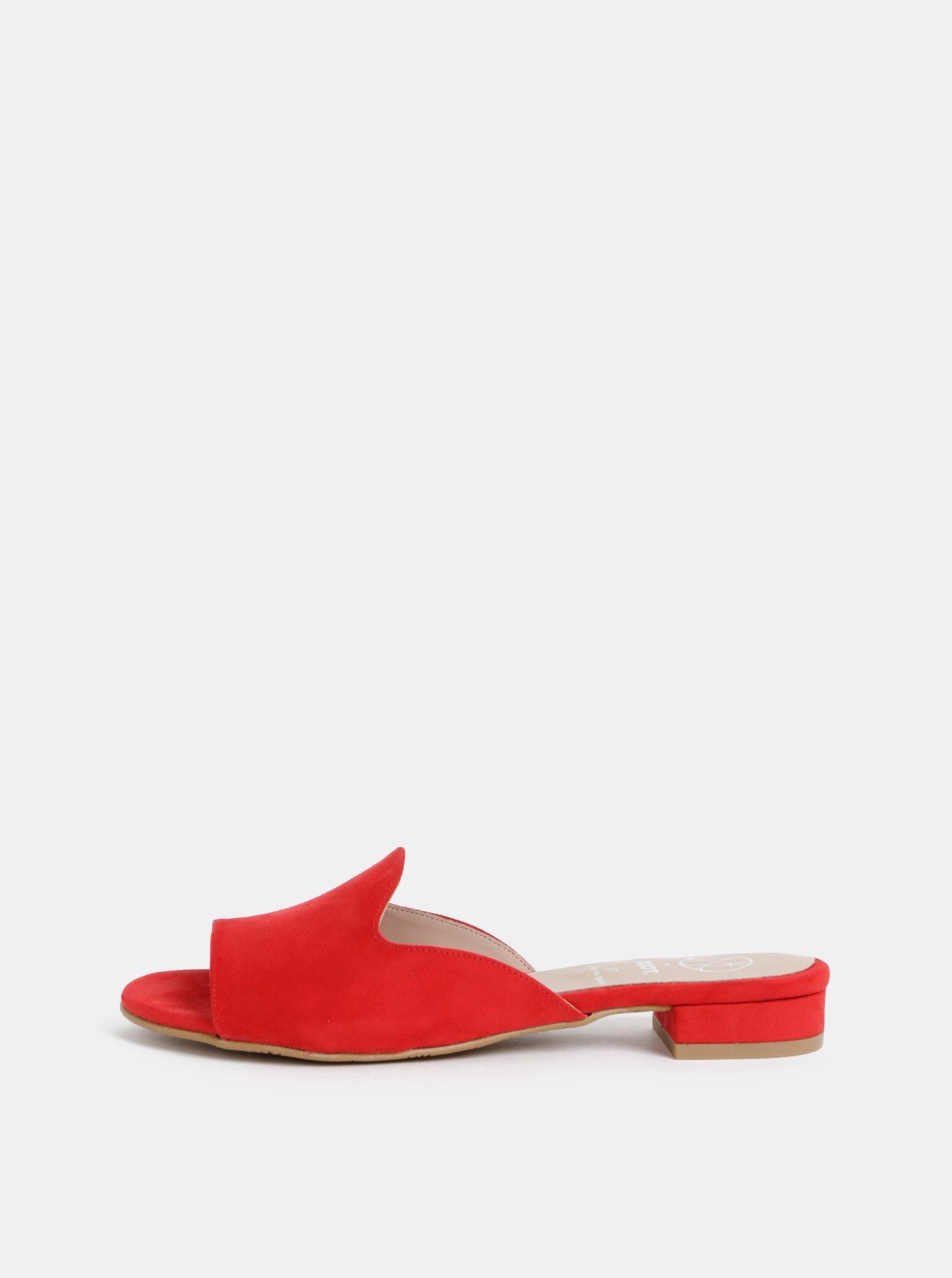 Červené pantofle v semišové úpravě OJJU Mariella