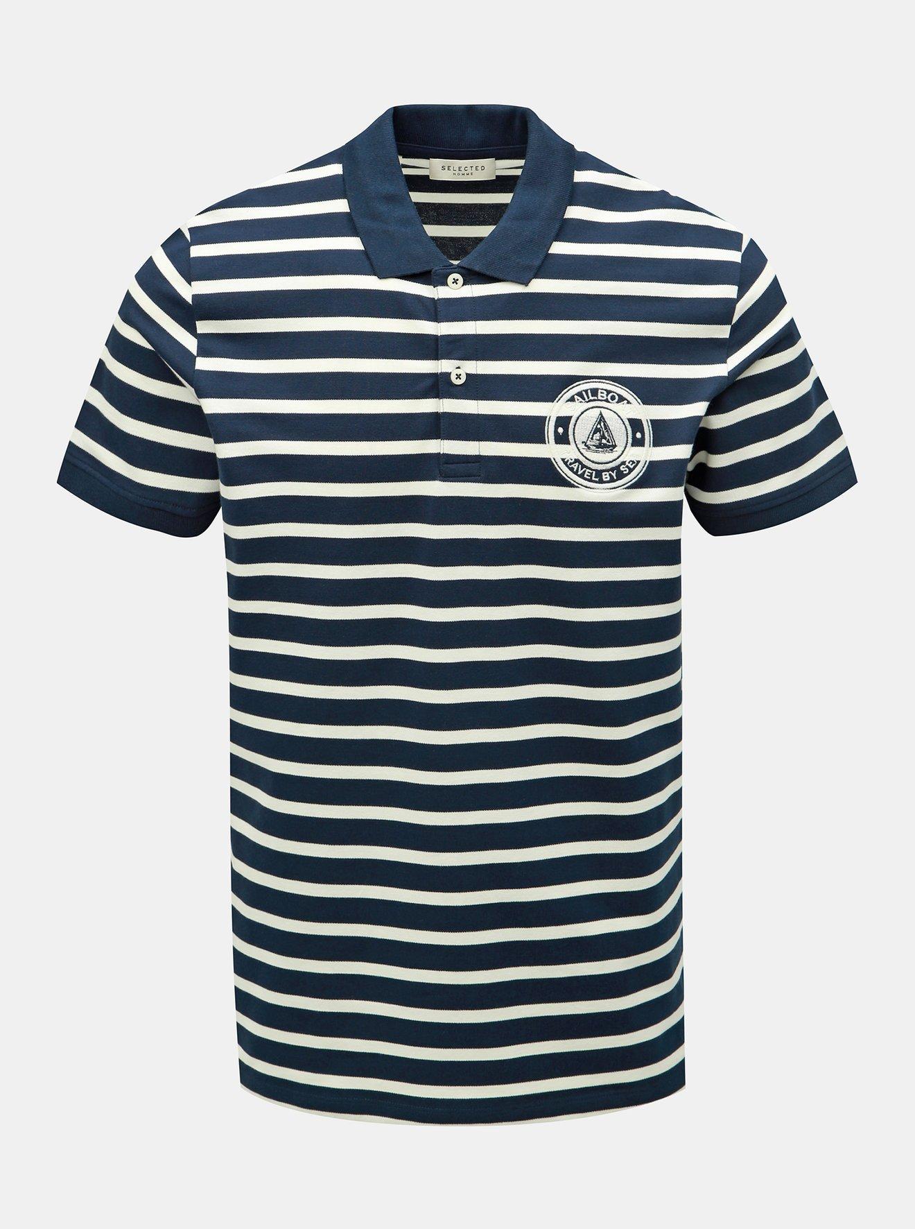 Tmavě modré pruhované polo tričko Selected Homme Capitaine