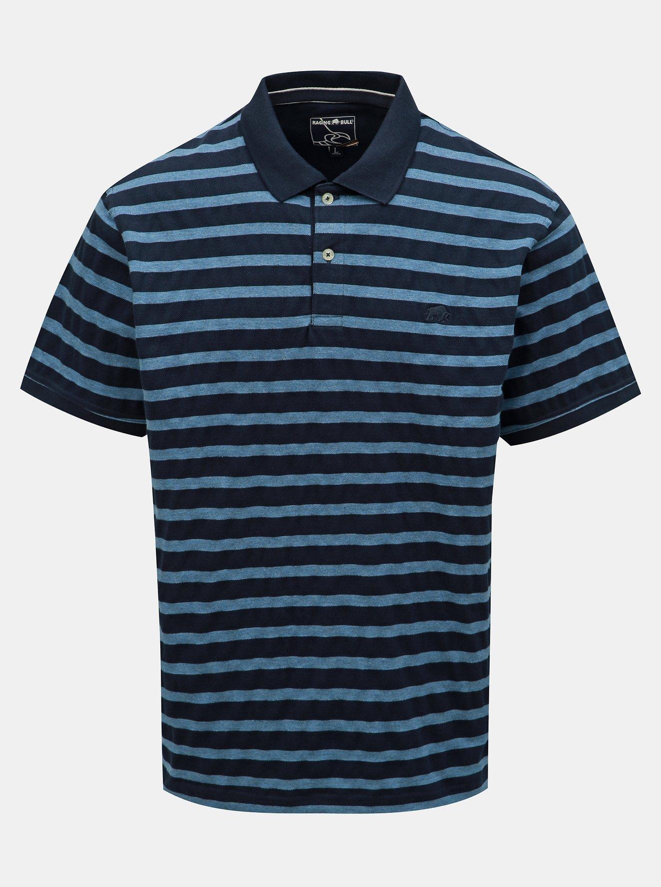 Tmavě modré pruhované polo tričko Raging Bull