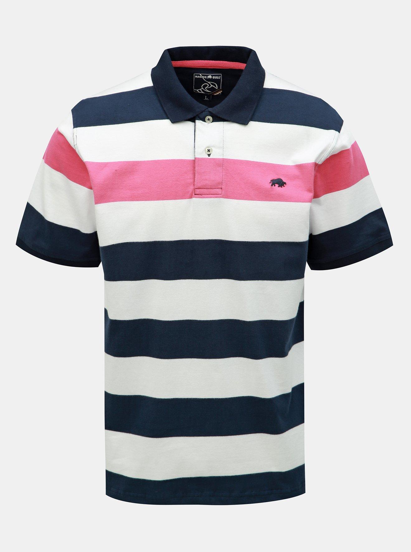 Modro-bílé pruhované polo tričko Raging Bull