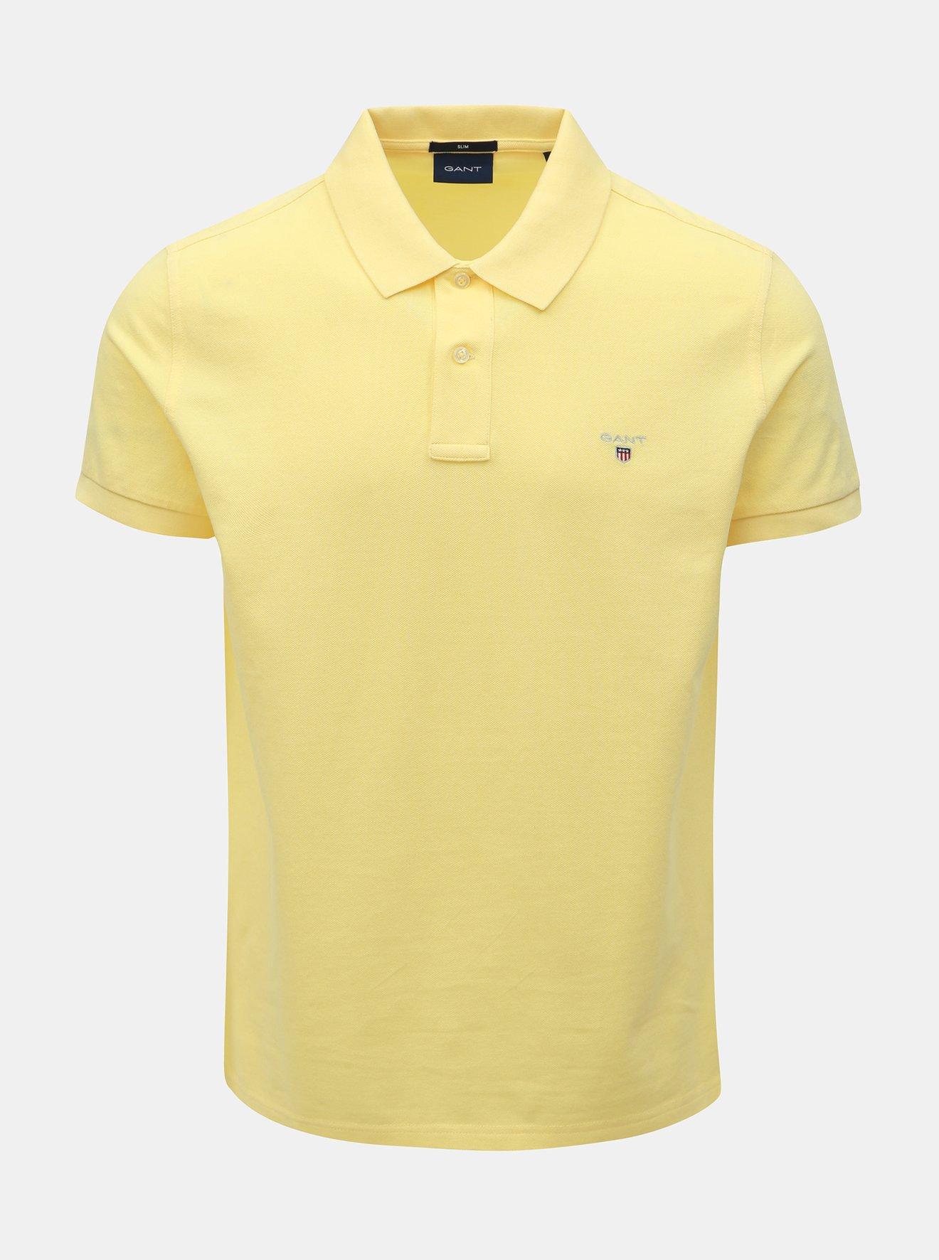 Žluté pánské slim fit polo tričko GANT