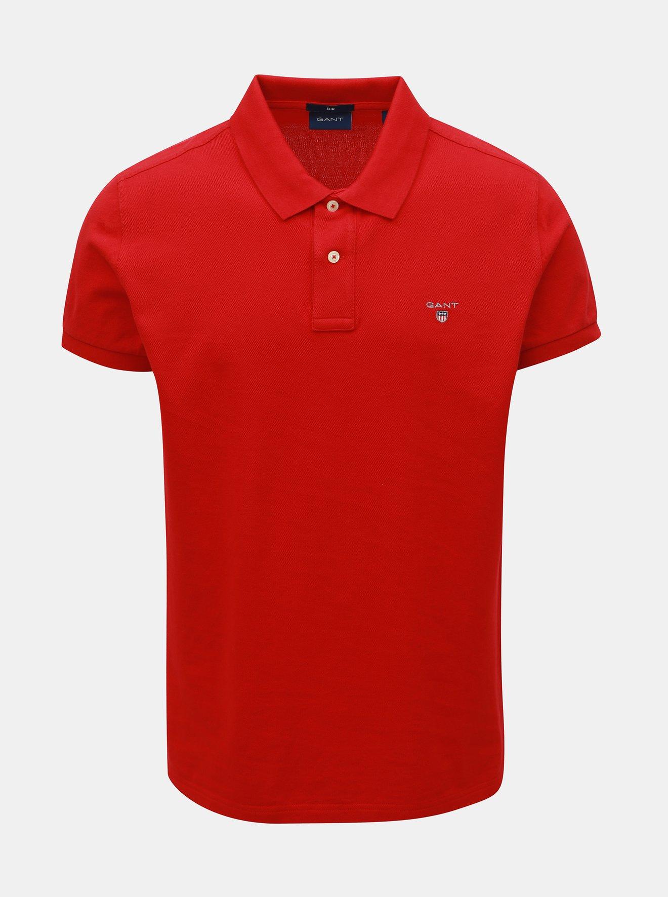 Červené pánské slim fit polo tričko GANT