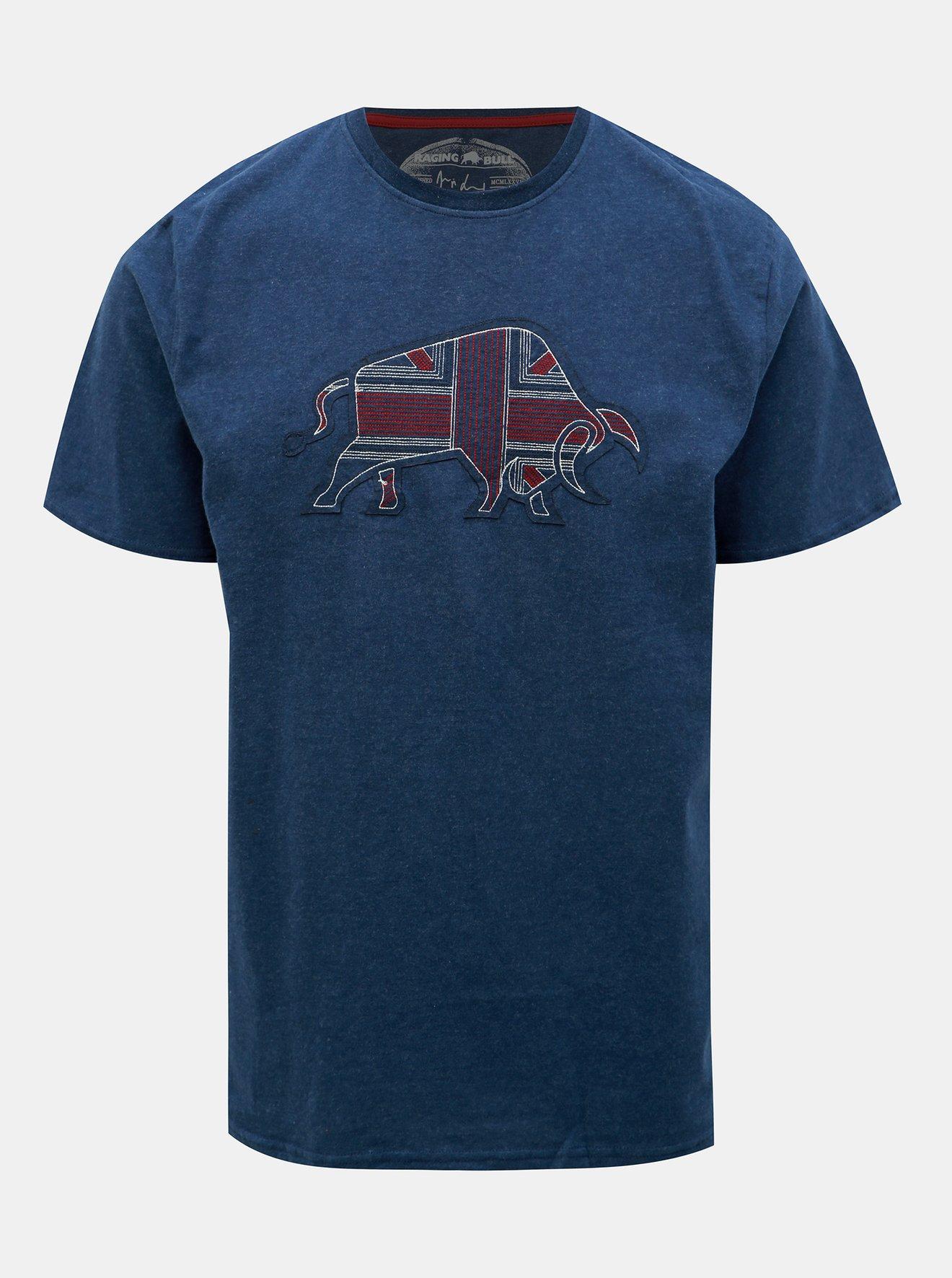 Tmavě modré tričko s nášivkou Raging Bull