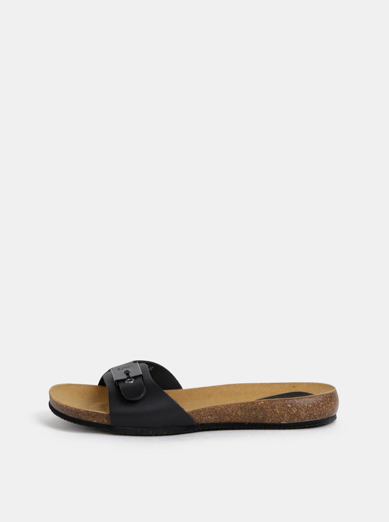 Černé dámské kožené pantofle Scholl Bahama