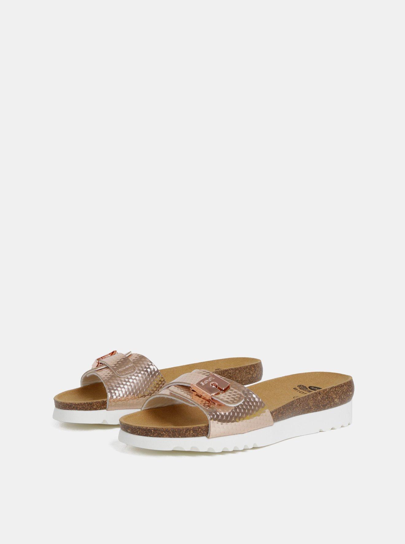 Dámské pantofle na klínku v růžovozlaté barvě Scholl Ginni
