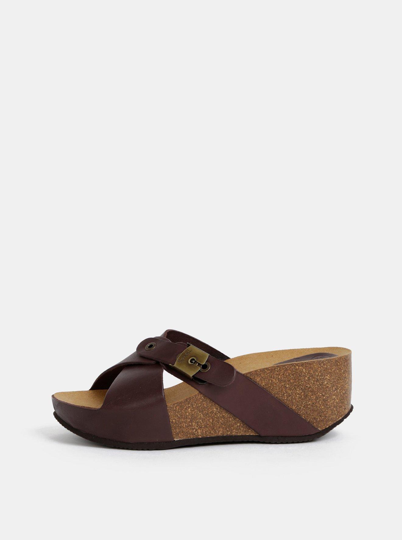 Hnědé dámské kožené pantofle na klínku Scholl Elon