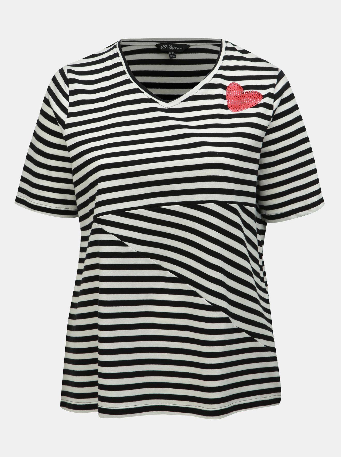 Bílo-černé pruhované tričko s flitry Ulla Popken
